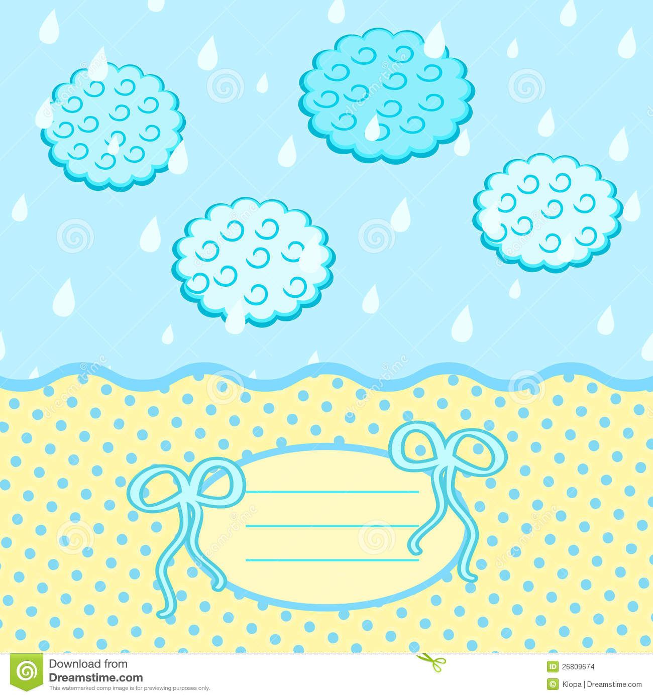 Baby Card With Bow Drops Clouds And Label For Text Stock Images ...