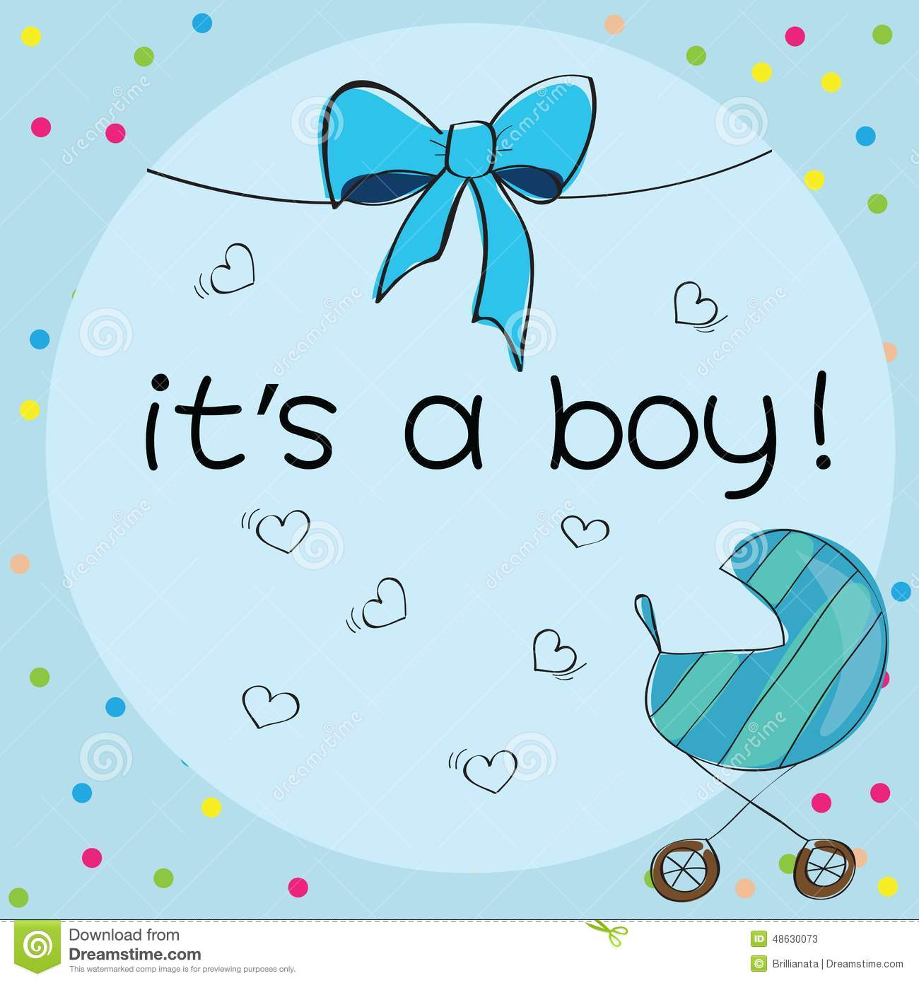 Baby card - Its a boy theme - with baby carriage.