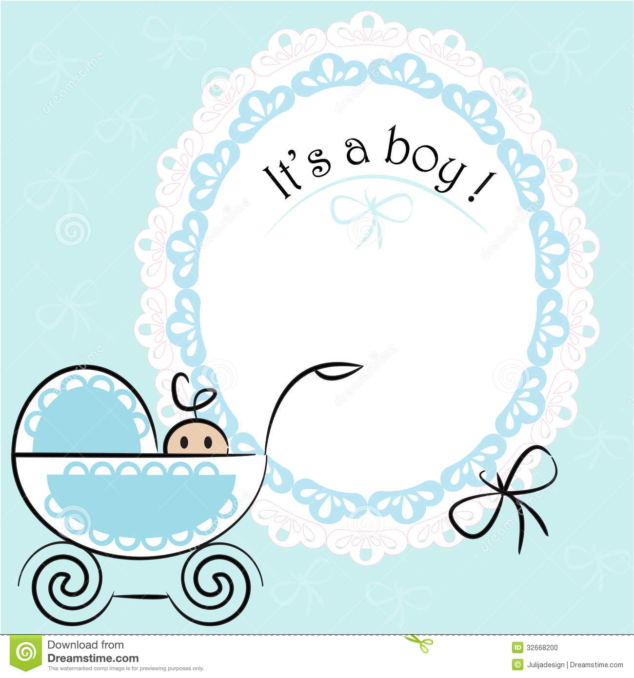 baby card its a boy theme stock vector illustration of lace