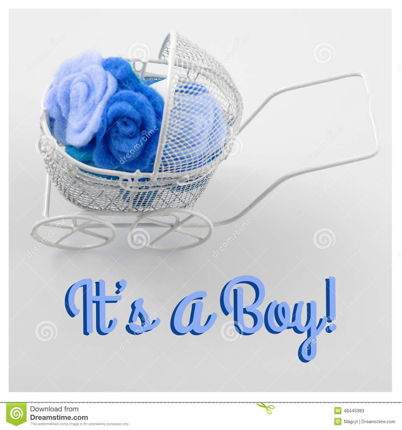 Baby card its a boy theme pram full of flowers on white royalty free stock photo kristyandbryce Images