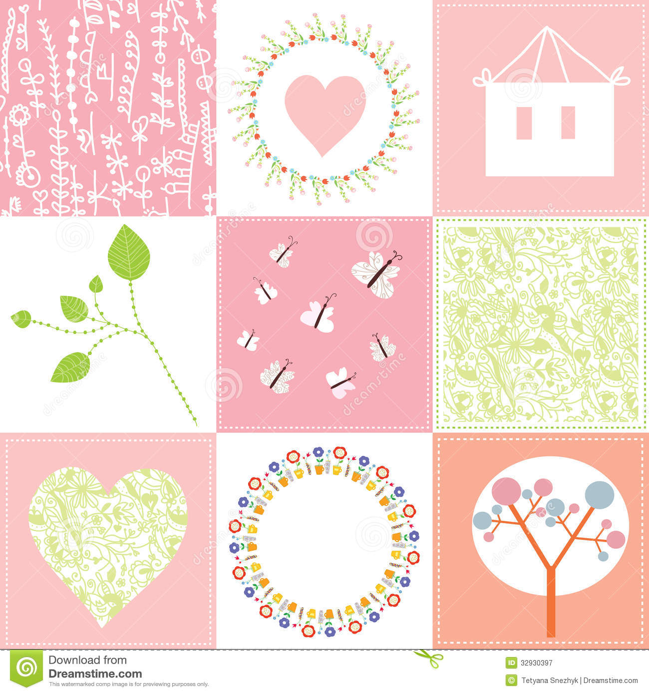 Baby Cards Set Cute Design With Patterns Stock Vector Image