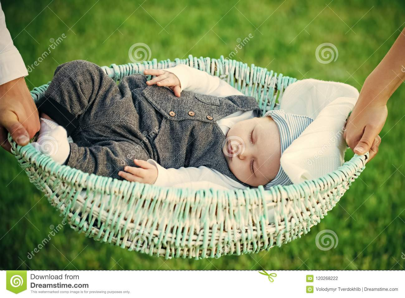 Download Baby Care. Baby Boy Sleep In Crib Held In Hands Stock Photo - Image of relax, little: 120268222