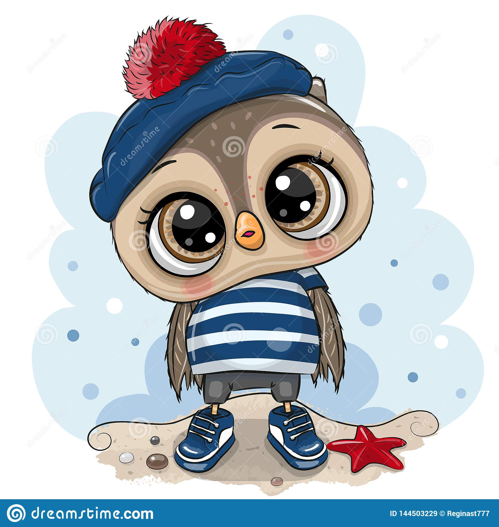 Baby Cartoon Owl In Sailor Costume Stock Vector Illustration Of Drawing Funny 144503229