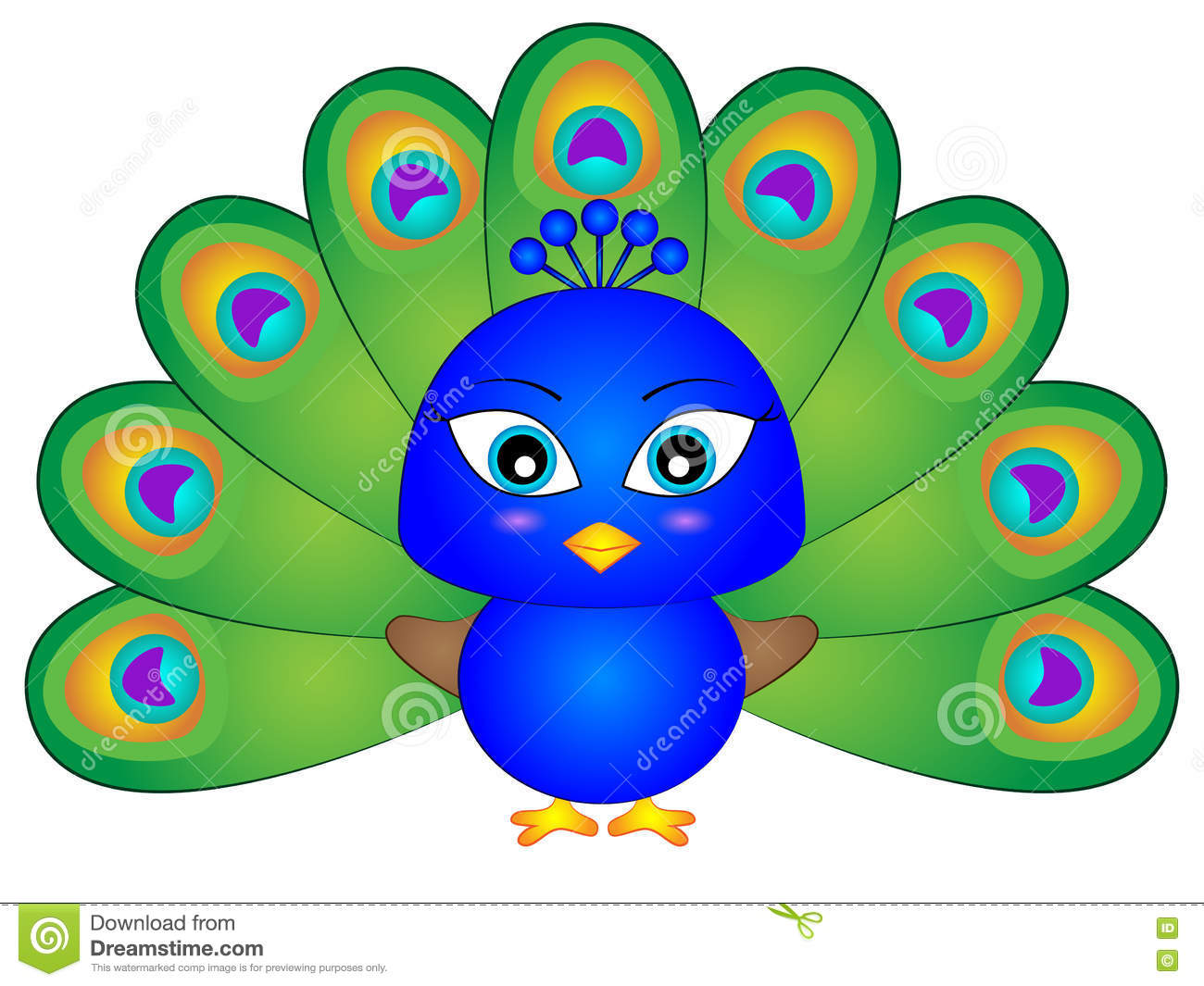 Baby Cartoon Peacock Stock Vector. Illustration Of Baby