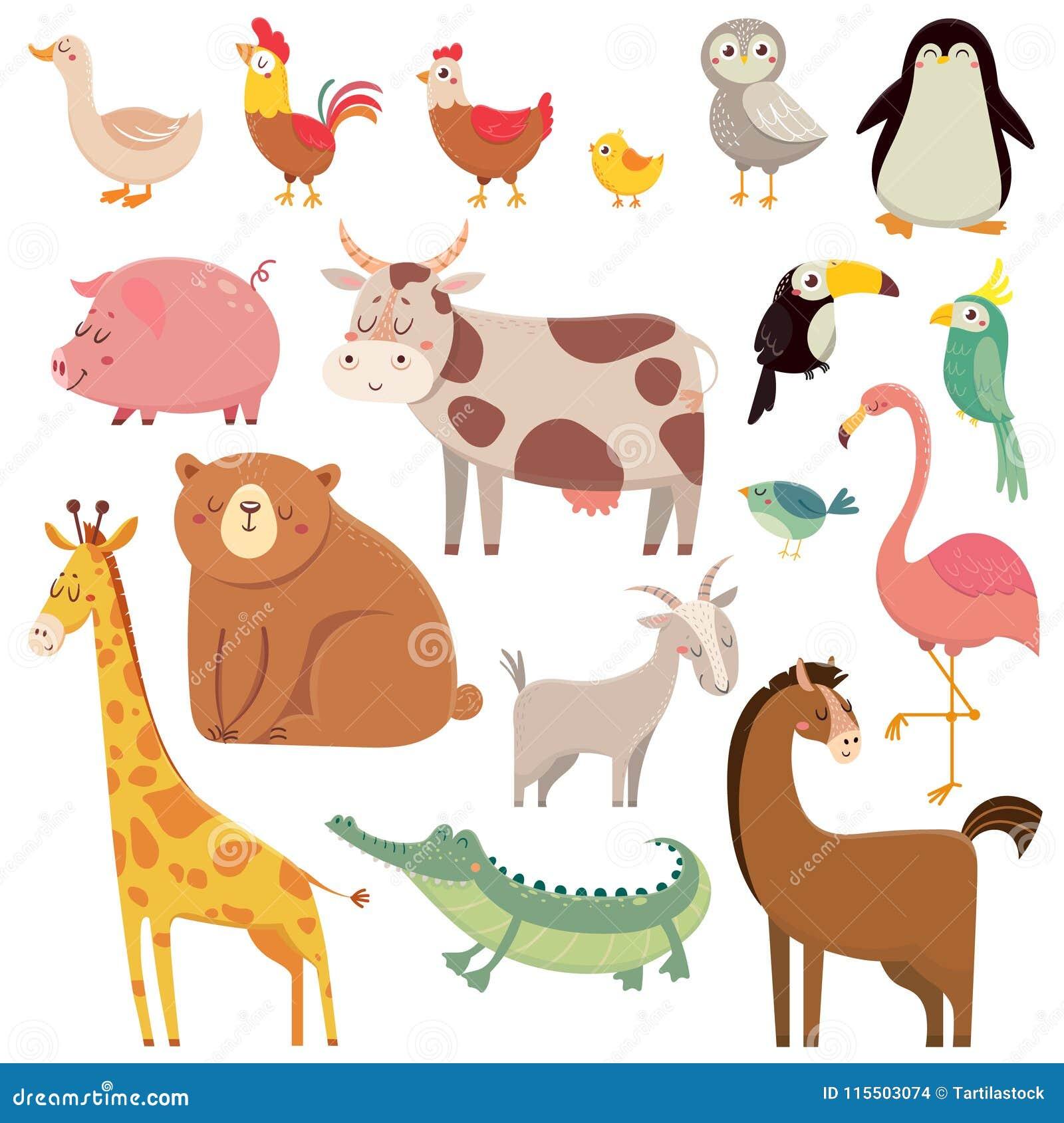 Baby cartoons wild bear, giraffe, crocodile, bird and domestic a