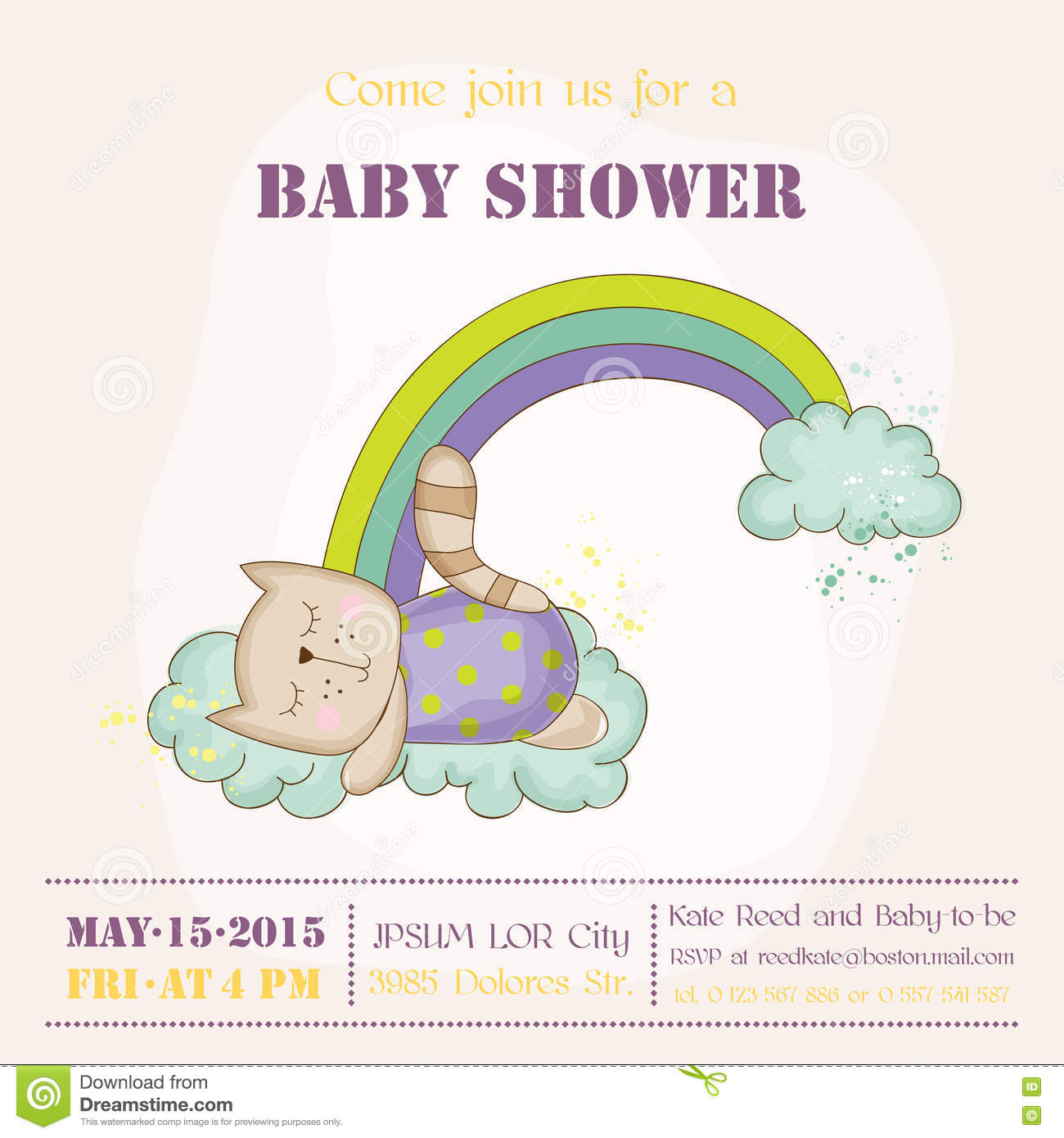 Baby Cat Sleeping on a Rainbow - Baby Shower or Arrival Card