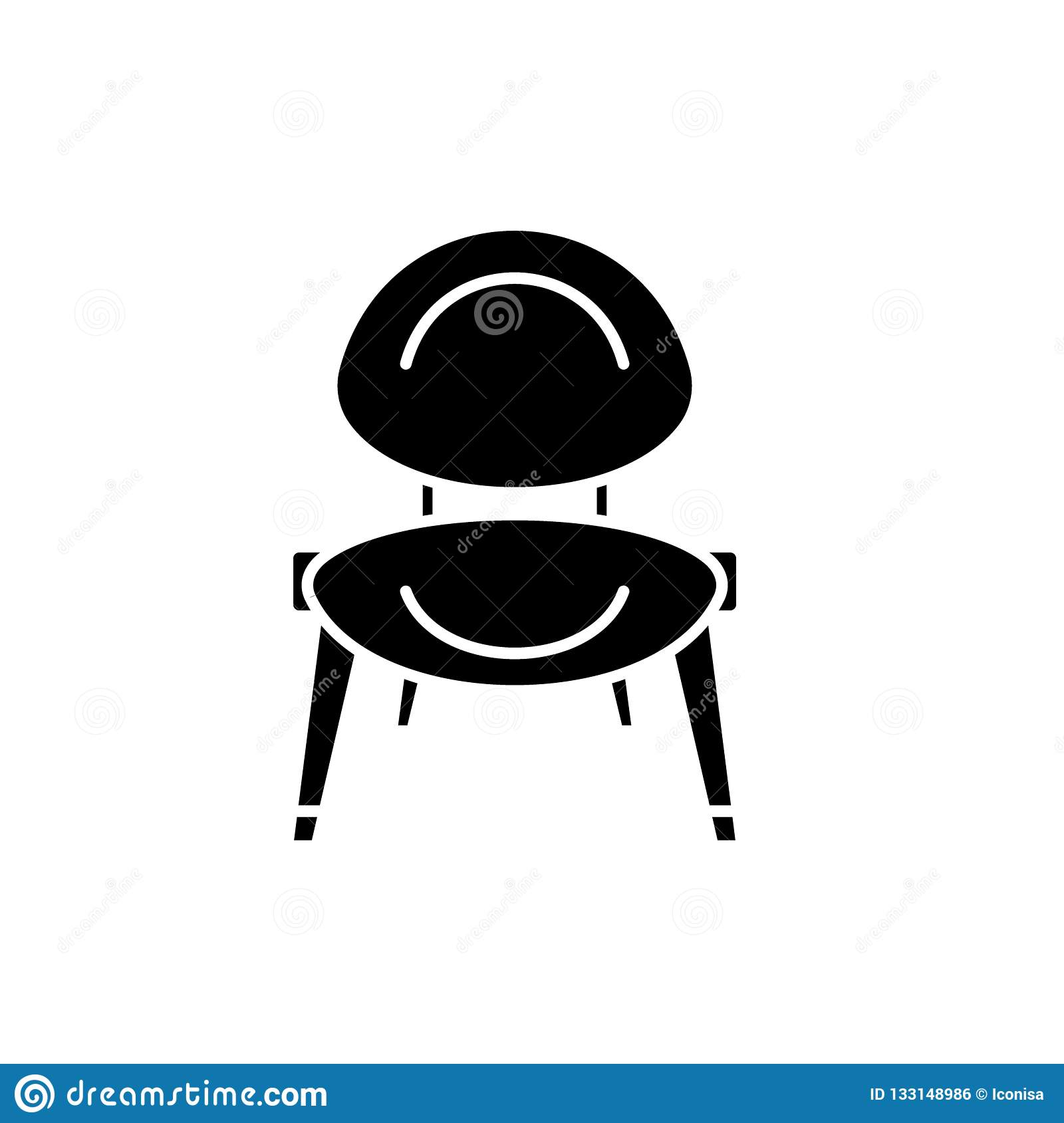 Baby Chair Black Icon Vector Sign On Isolated Background Baby