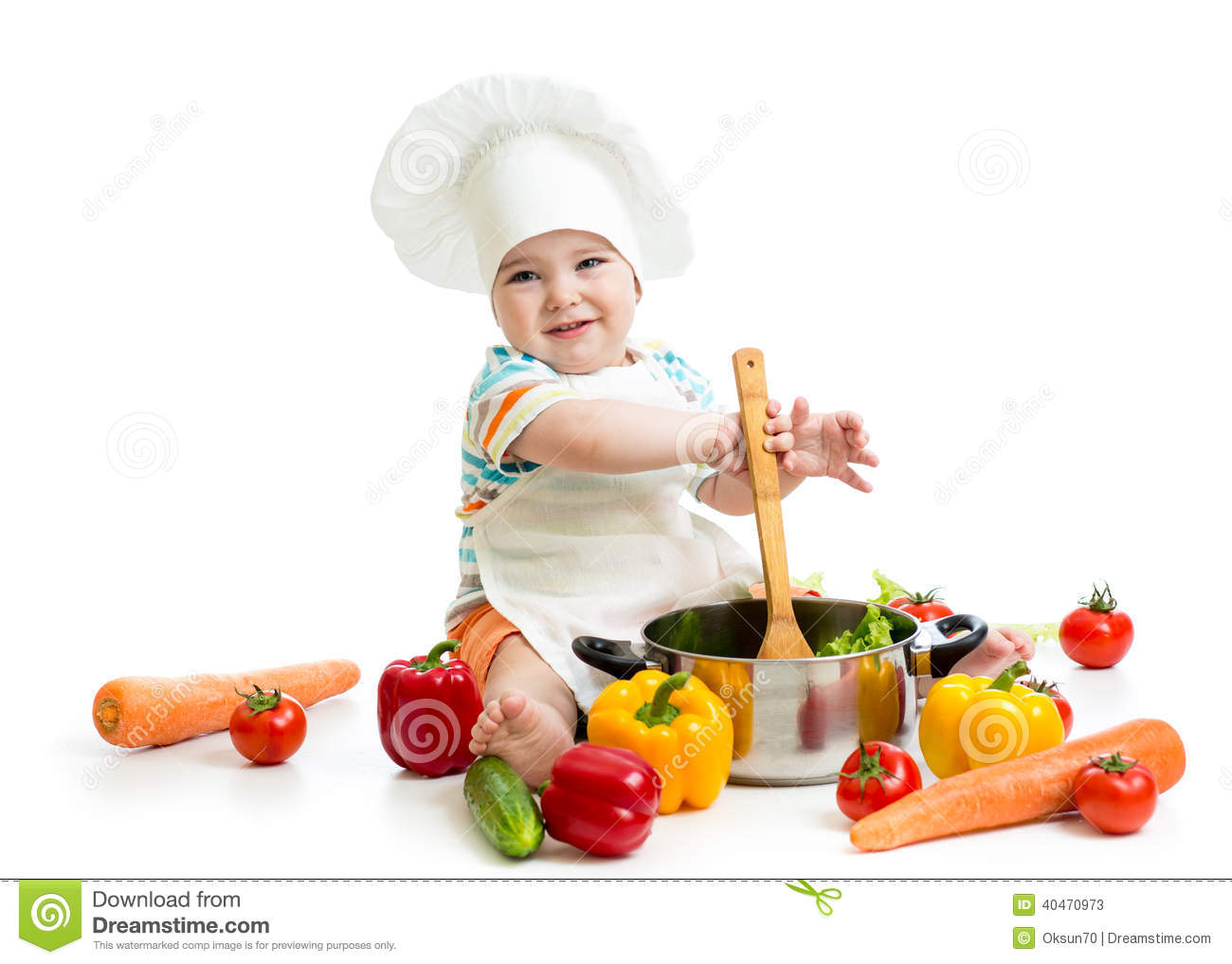 Baby Chef With Healthy Food Vegetables Royalty-Free Stock ...