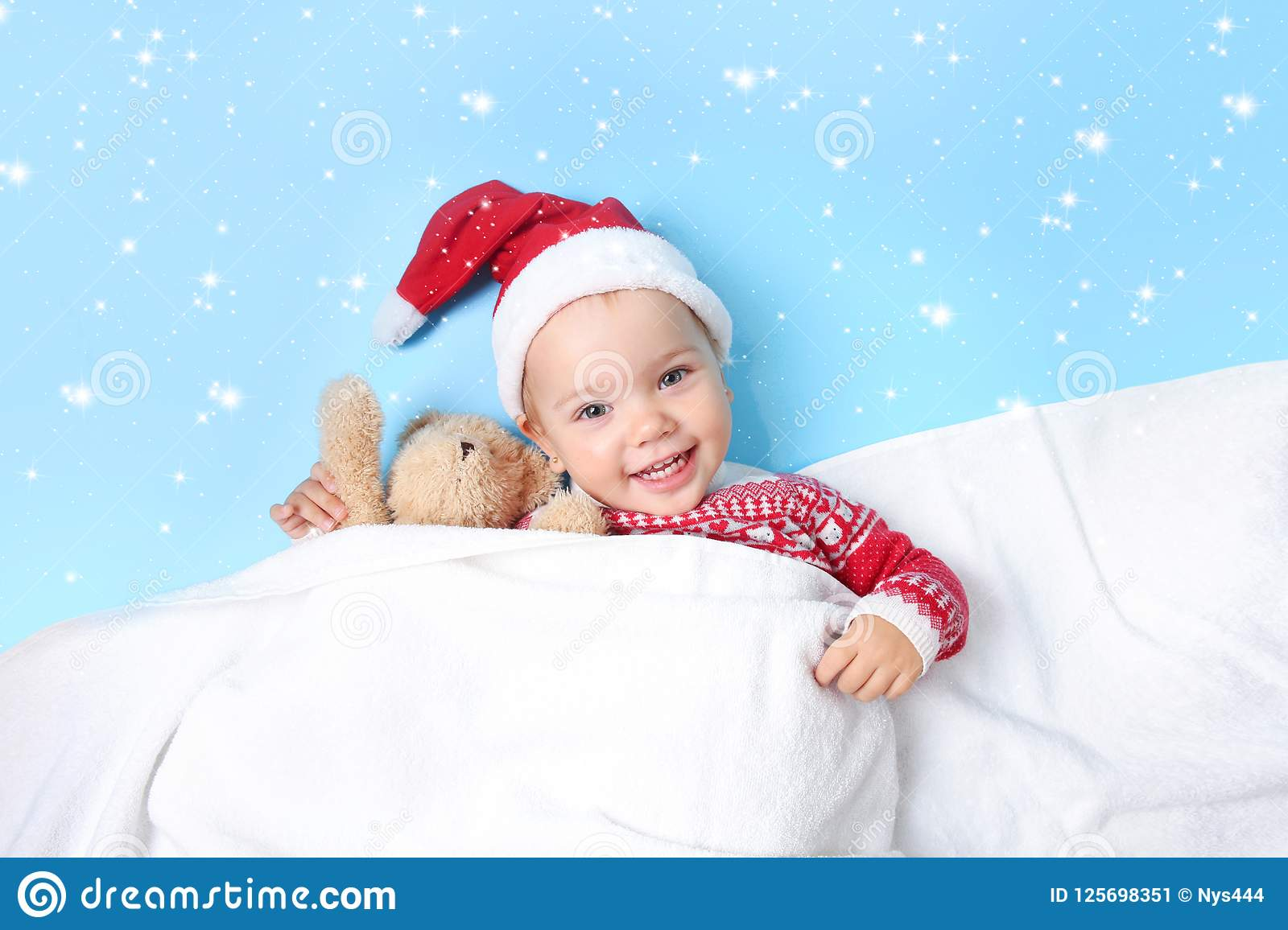 9ca487e27d4 Baby Child In Santa Hat Empty Copy Space Background. Stock Image ...