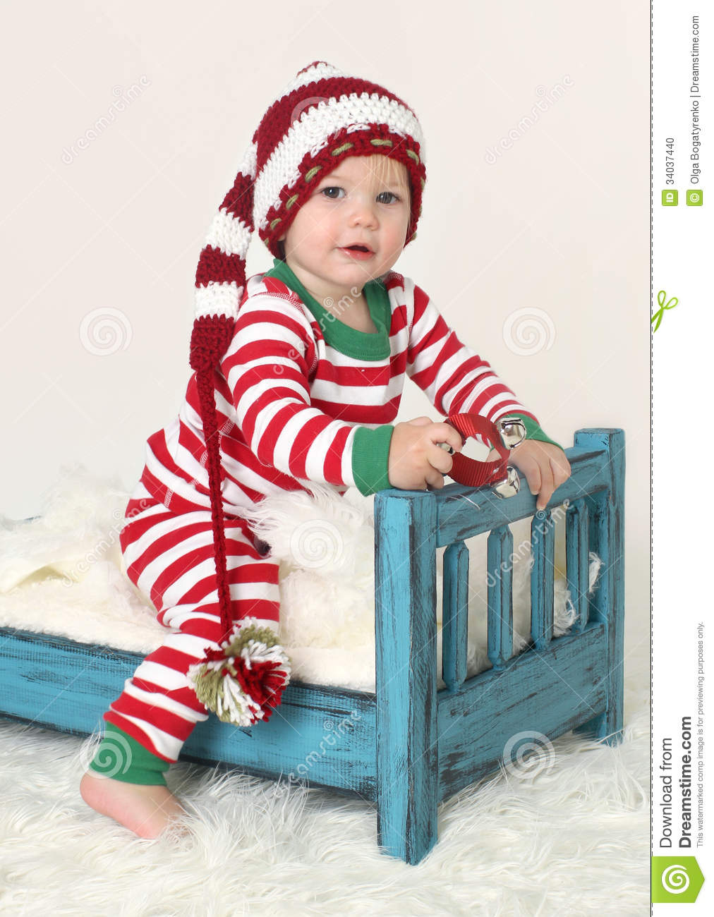 Baby Christmas Outfit Elf Hat Stock Photo - Image: 34037440