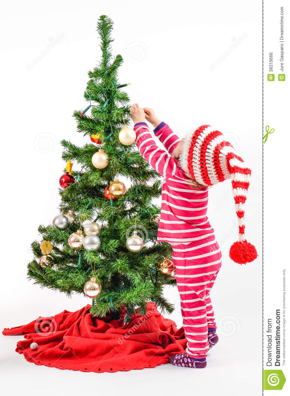 A baby and a christmas tree stock photo image 38319666 for Baby christmas tree decoration