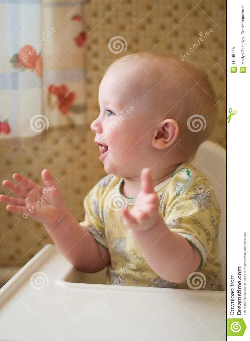 Baby is clapping hands stock image. Image of home ...