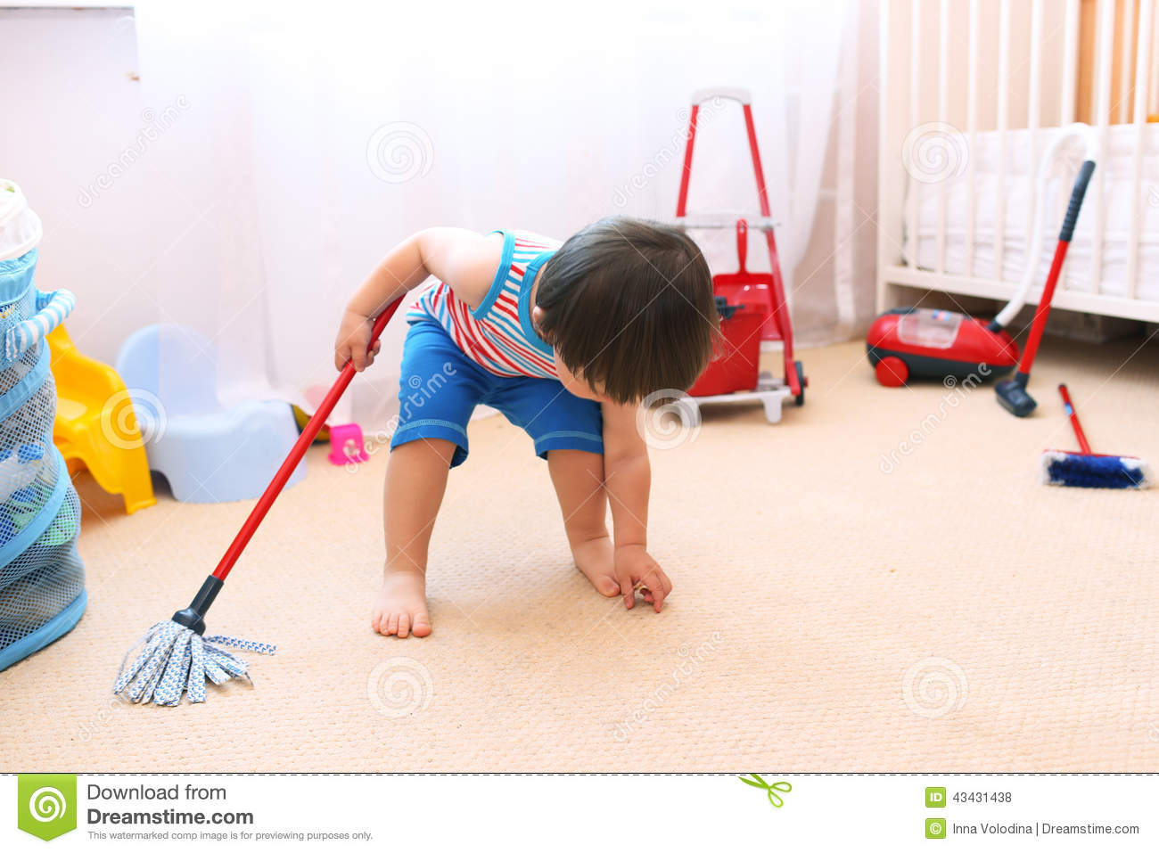 Baby Cleaning His Room Stock Photo Image 43431438