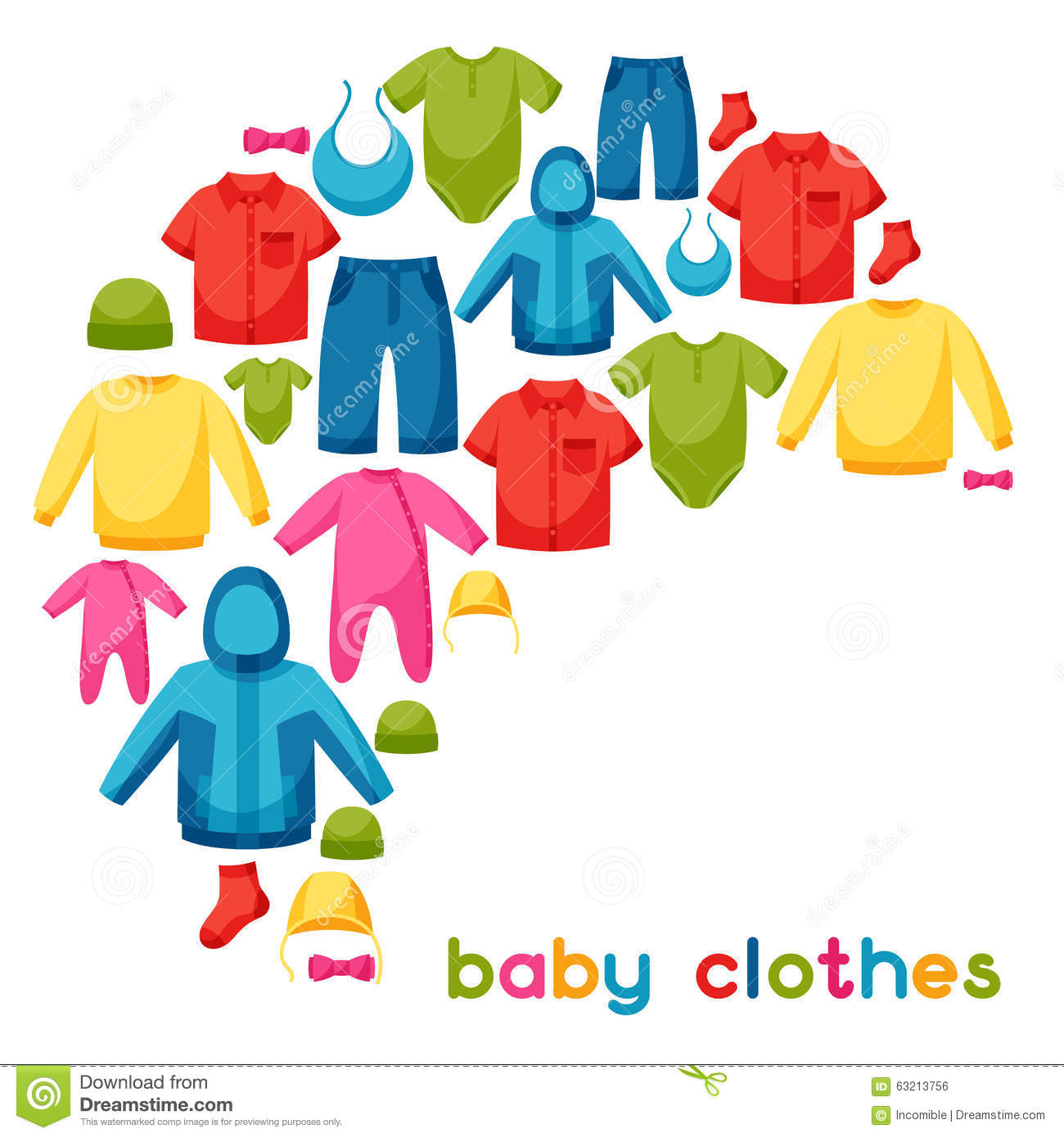 0c3fd0483ee87 Baby Clothes. Background With Clothing Items For Stock Vector ...