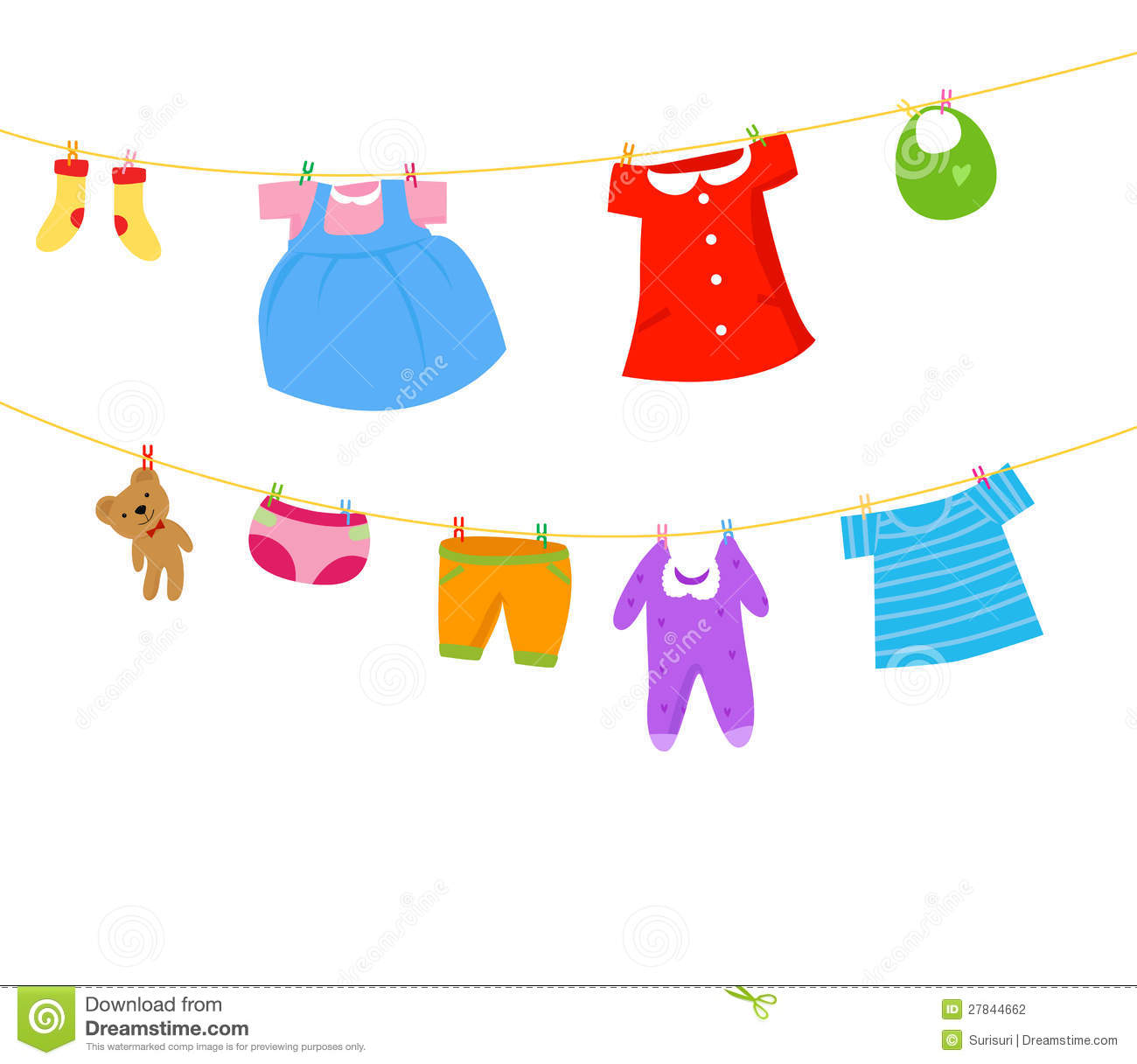 Baby Clothes On A Clothesline Stock Photography - Image ...