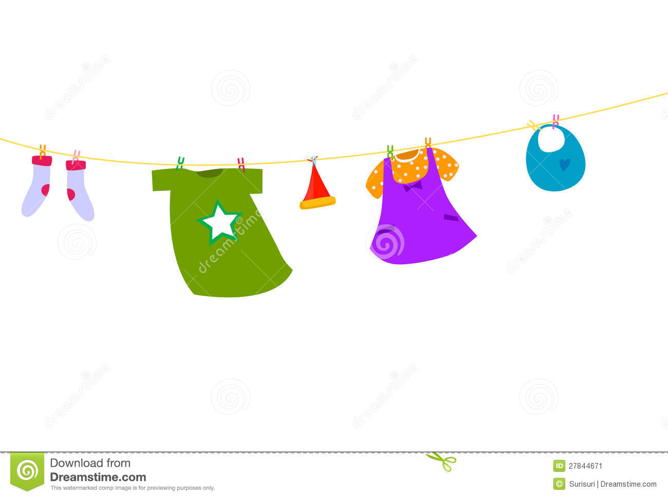 Baby clothes on a clothesline stock image image 27844671 for Baby clothesline decoration baby shower