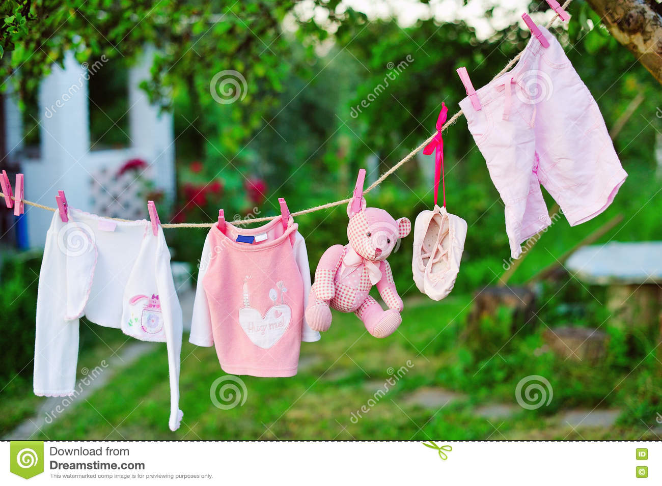 Clothes Drying Outdoors Vector Illustration