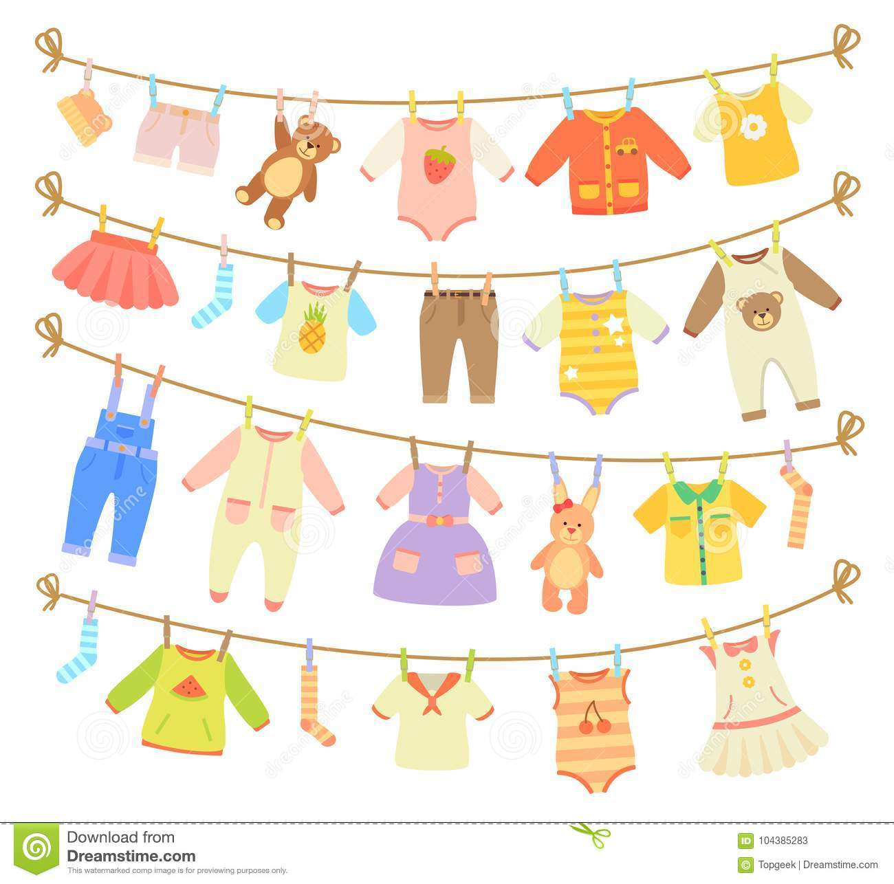 Baby Clothes Hanging on Rope Illustration