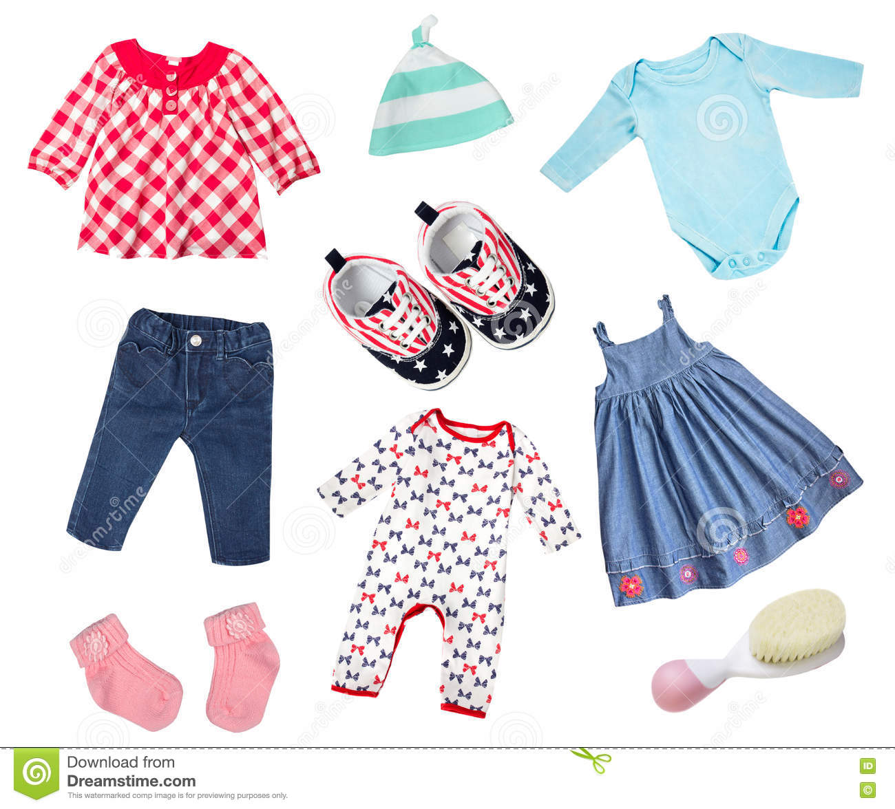 50a90e7946bf Baby Clothes Isolated Collage. Stock Photo - Image of baby