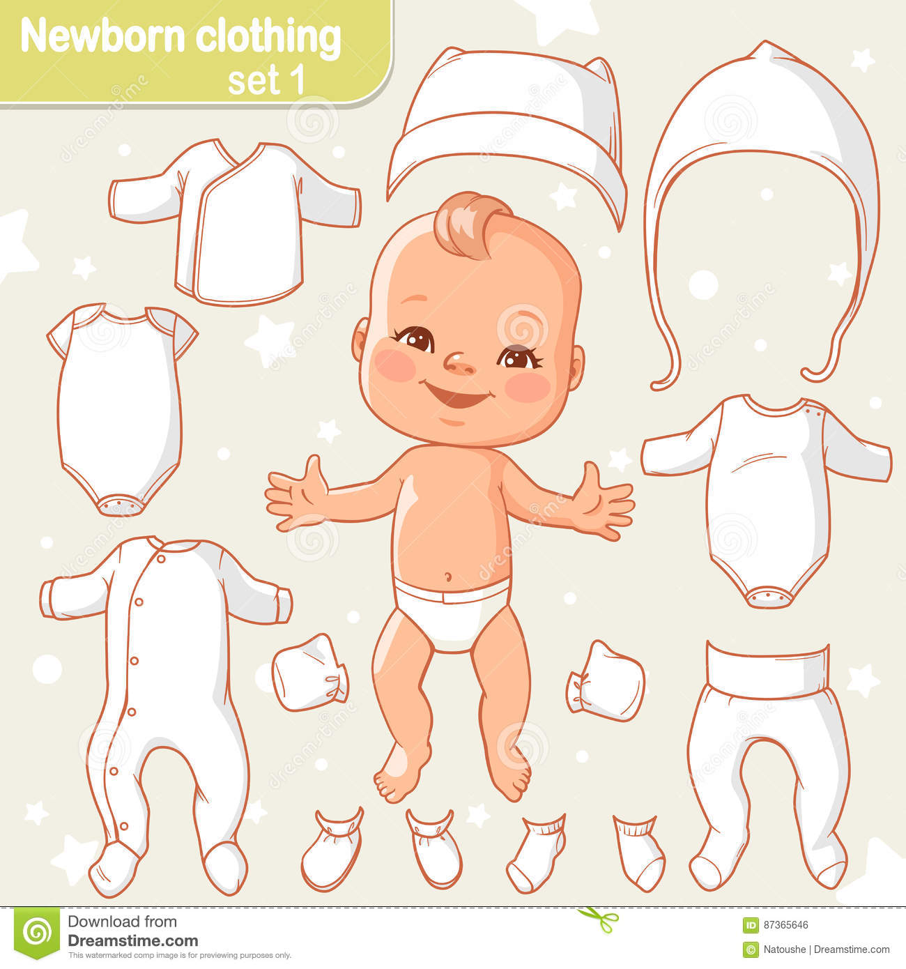 6f620ebbaa06 Baby clothes set stock vector. Illustration of fashion - 87365646