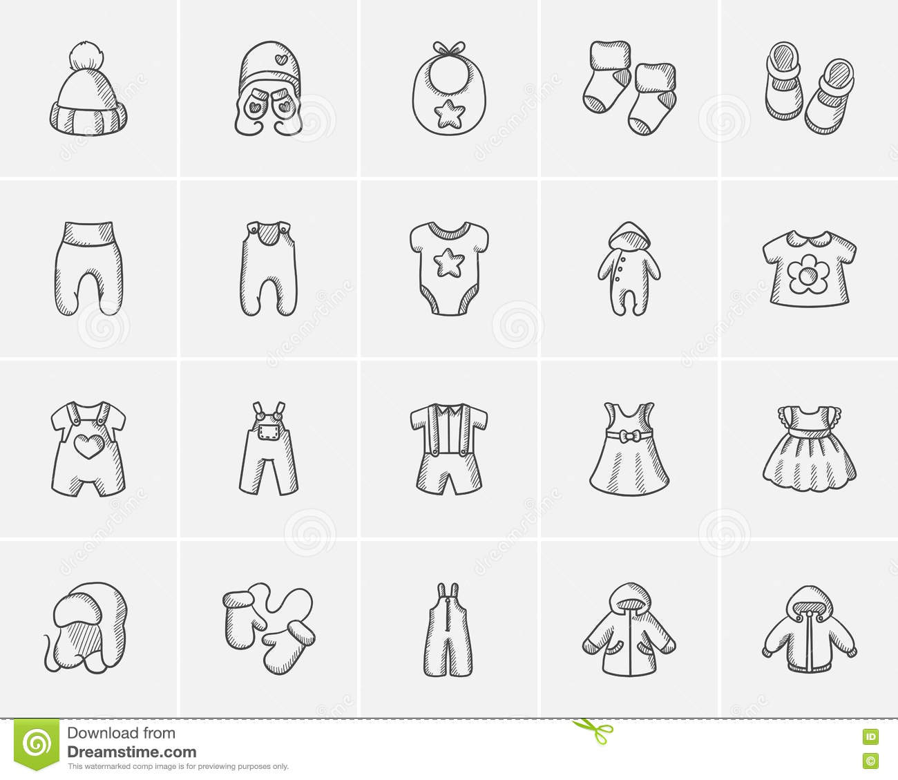 f6366549d7c6 Baby Clothes Sketch Icon Set. Stock Vector - Illustration of child ...