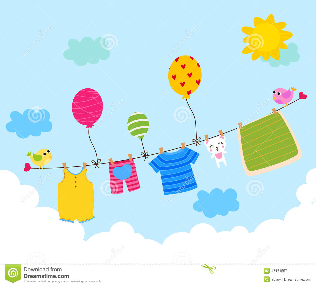 Baby clothesline stock vector image 46171557 for Baby clothesline decoration baby shower