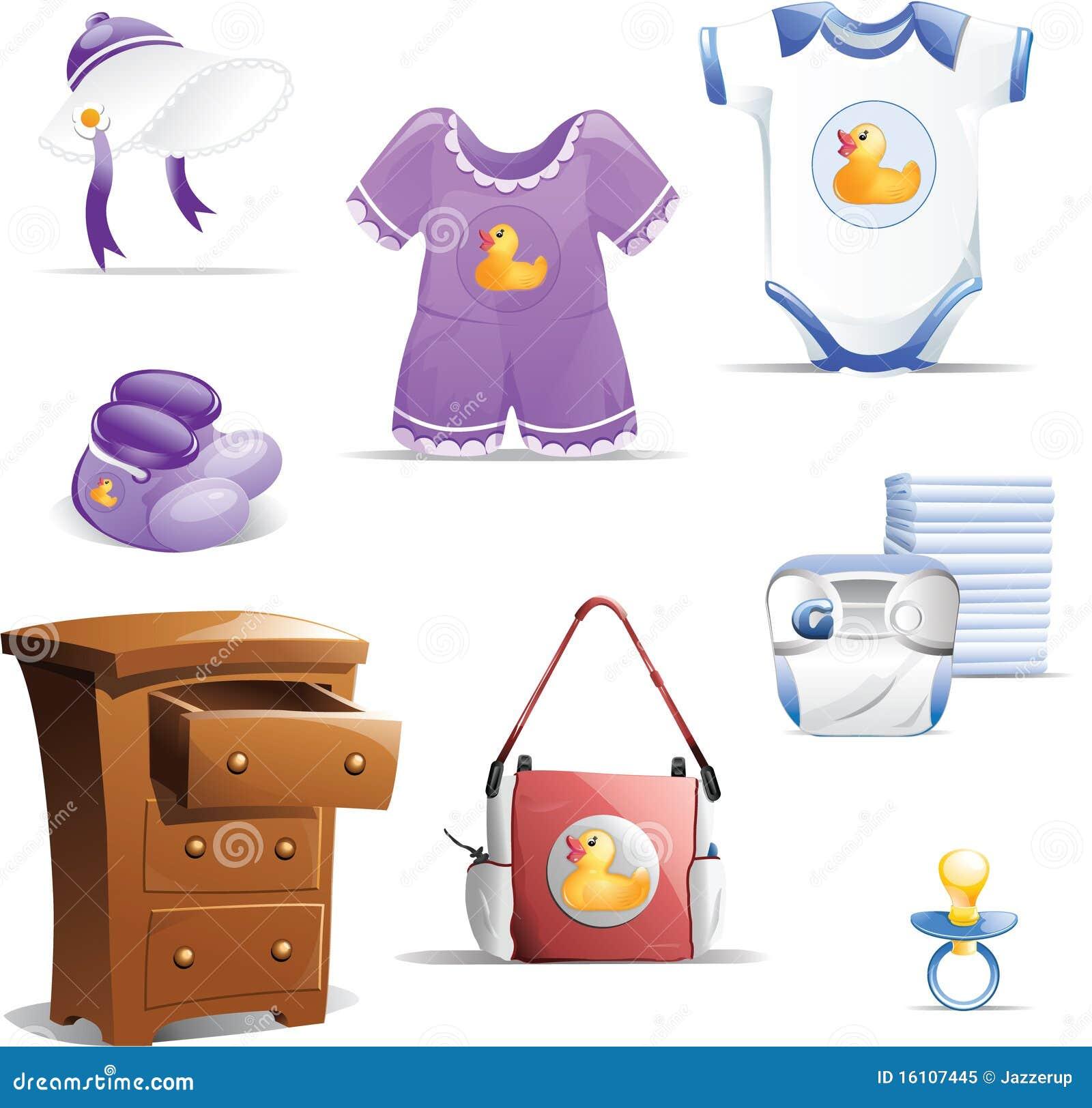 Baby Clothing Icon Set Royalty Free Stock Photo - Image ...