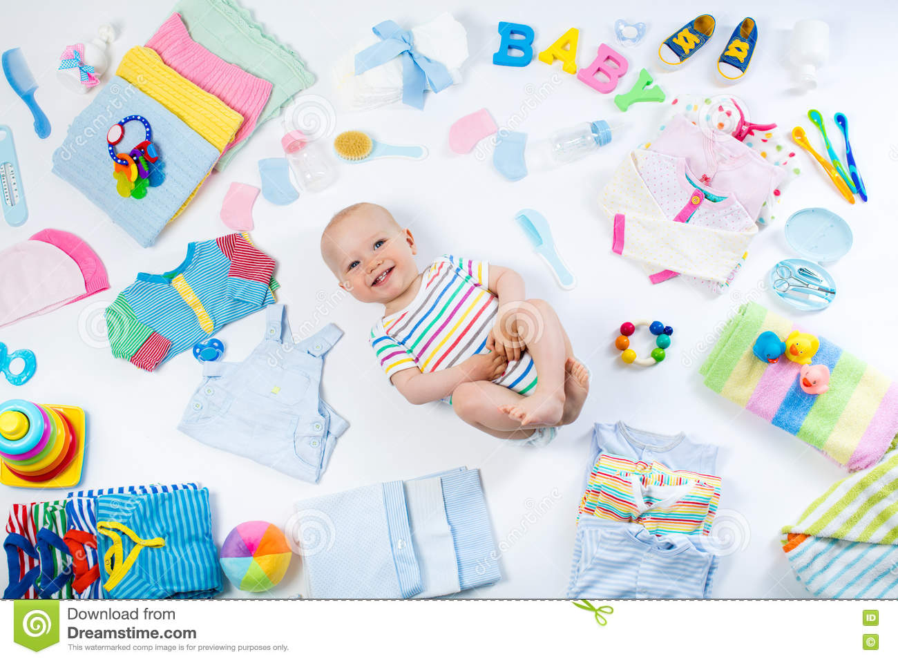 cd2dcf9e1241 Baby With Clothing And Infant Care Items Stock Photo - Image of bath ...