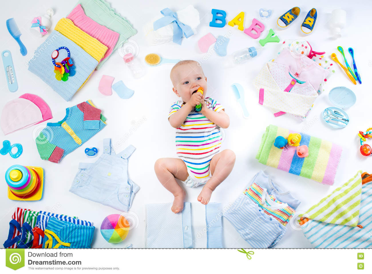 Baby With Clothing And Infant Care Items Stock