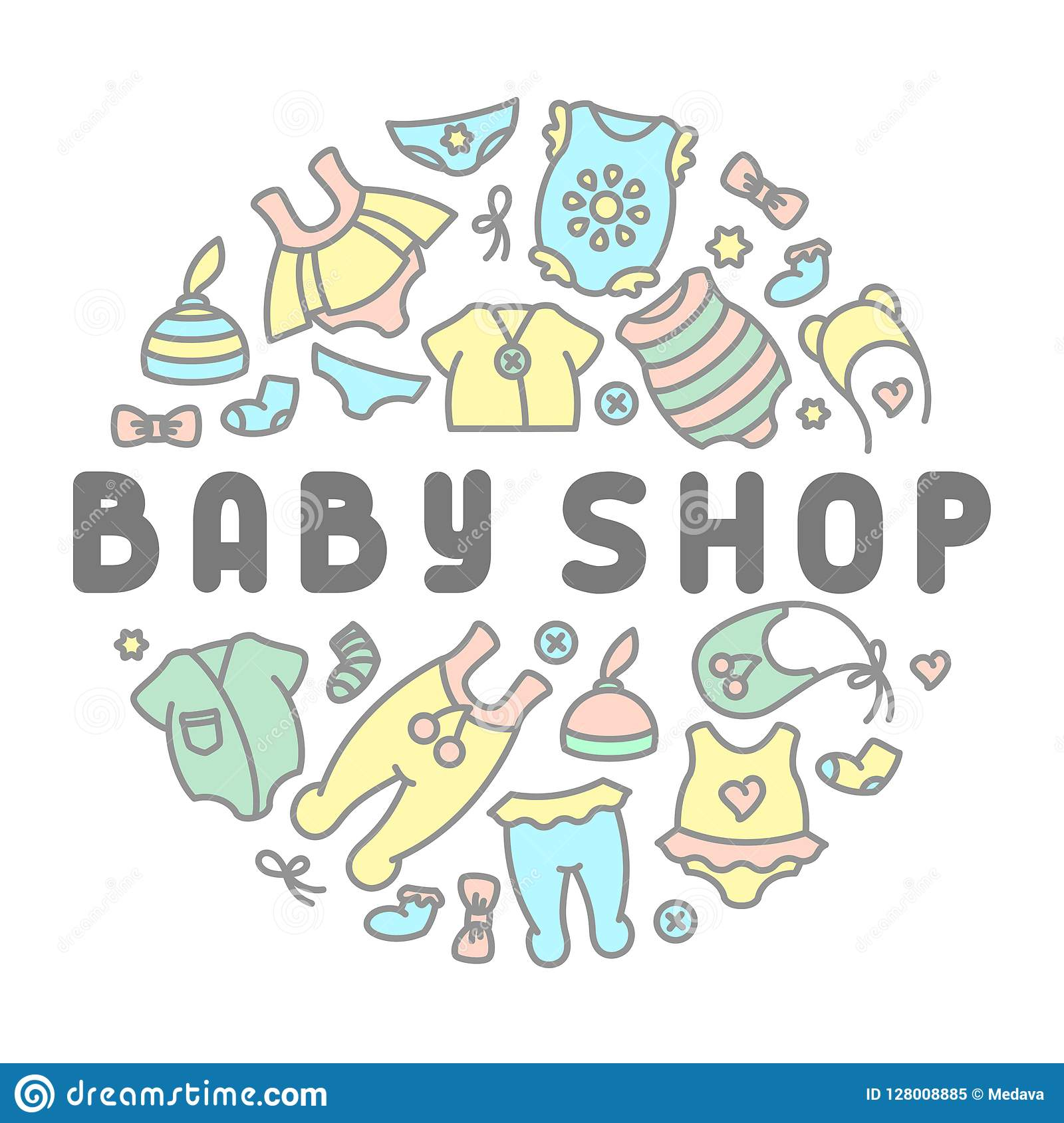 42c6efc67eb7 Baby clothing shop card stock vector. Illustration of clothes ...