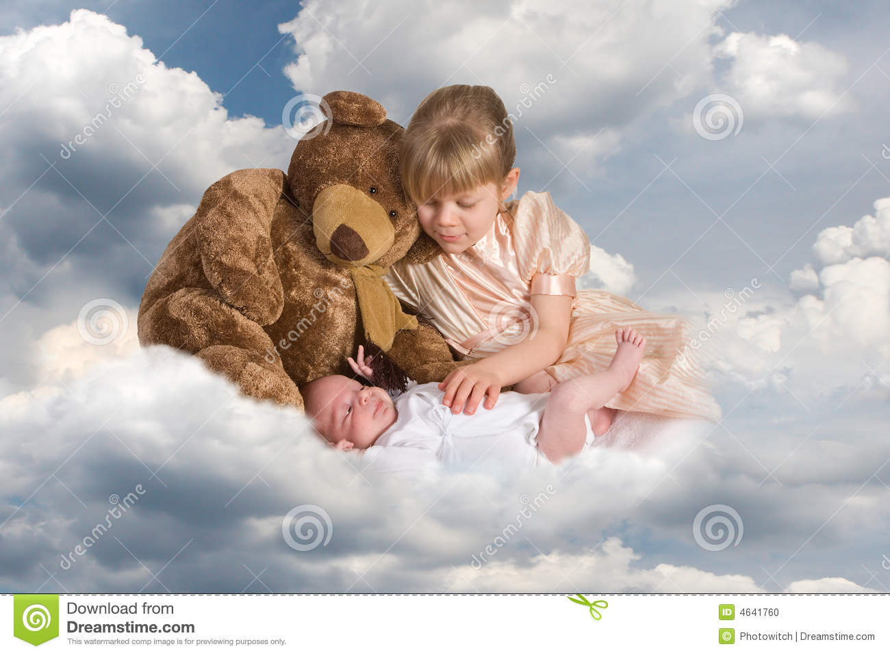 baby on clouds stock photo