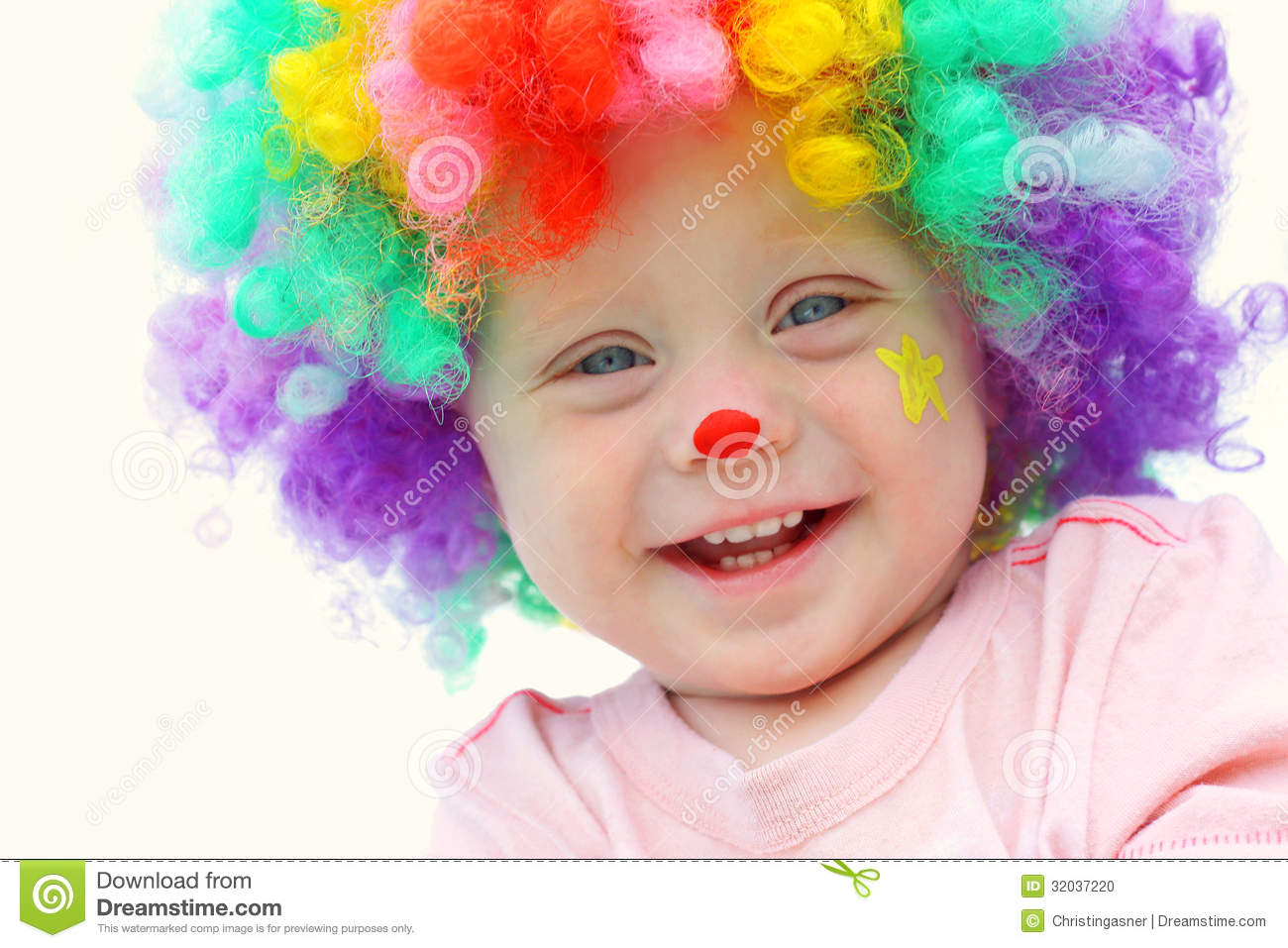 Baby In Clown Costume Stock Photo. Image Of Face Make - 32037220