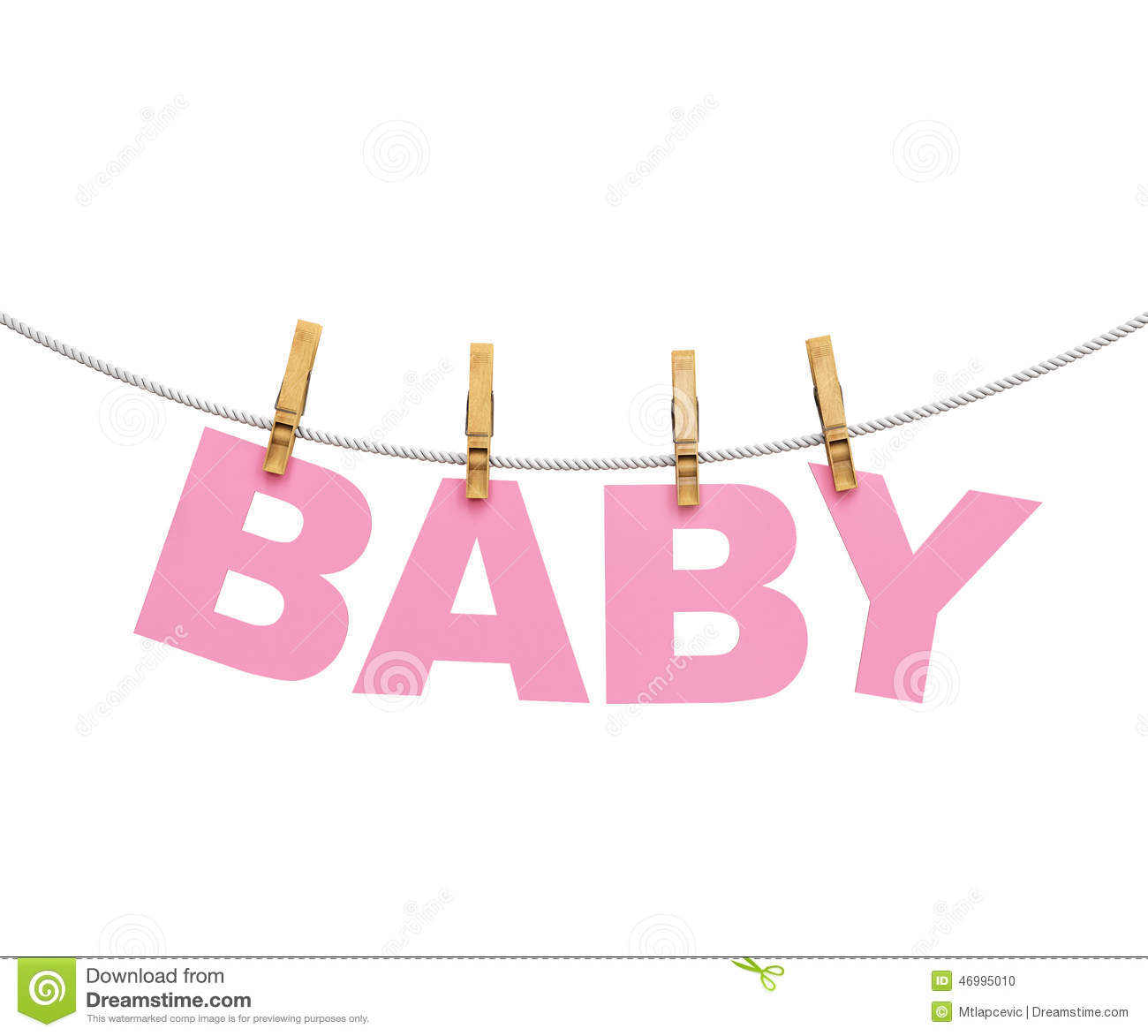 Baby Colorful Letters Hanging On Rope With Clothespins ...