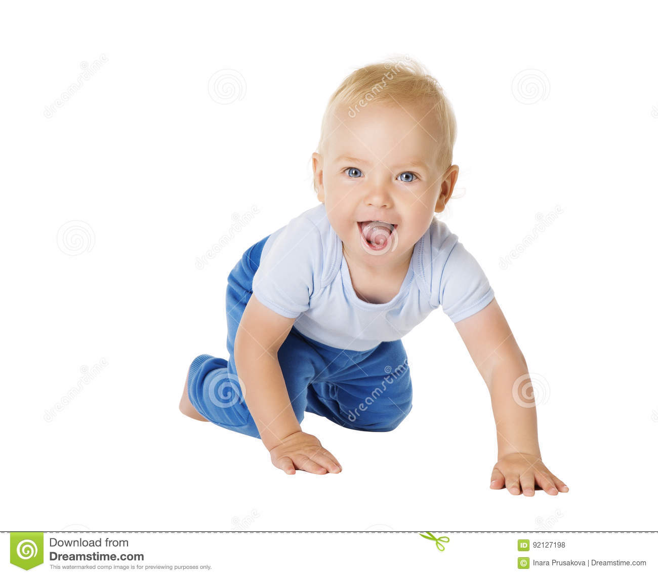 Baby Crawling over White Background, Happy Kid, Child Boy