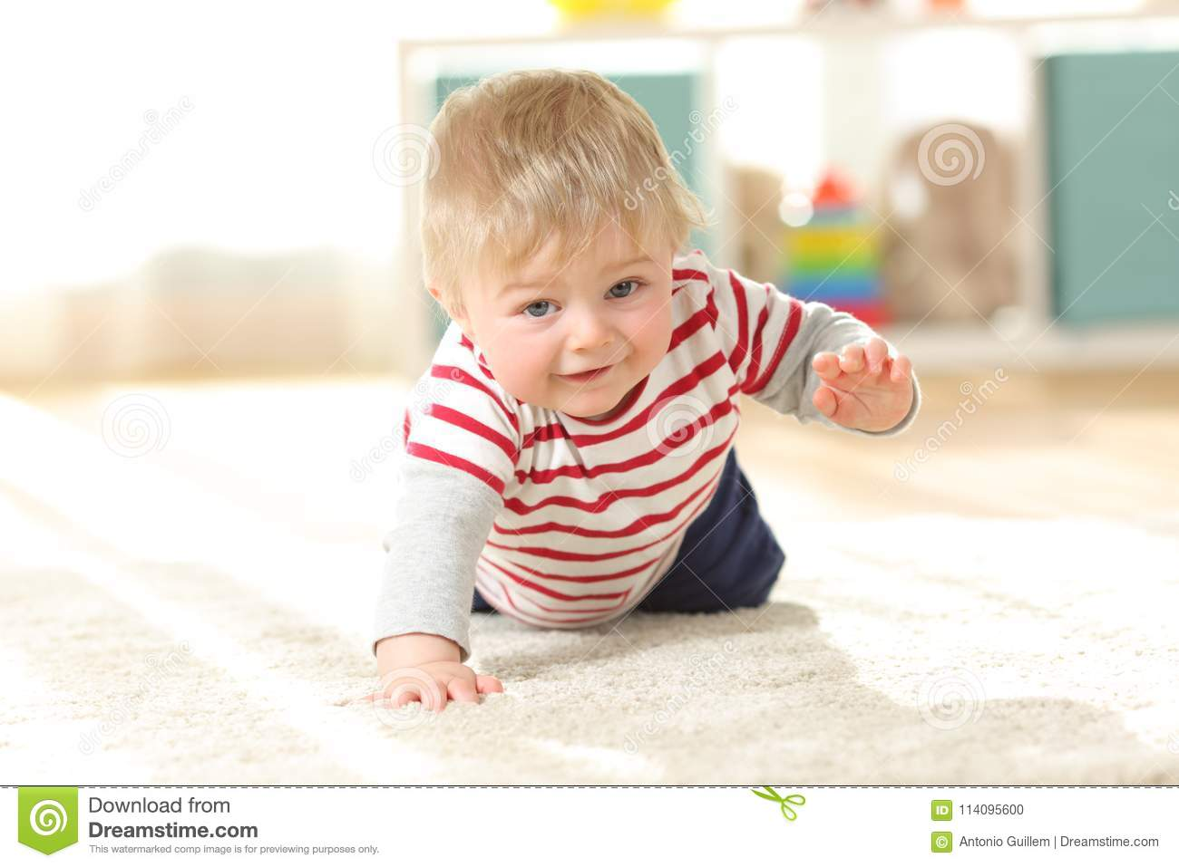 Baby Crawling Towards Camera On The Floor Stock Photo Image Of