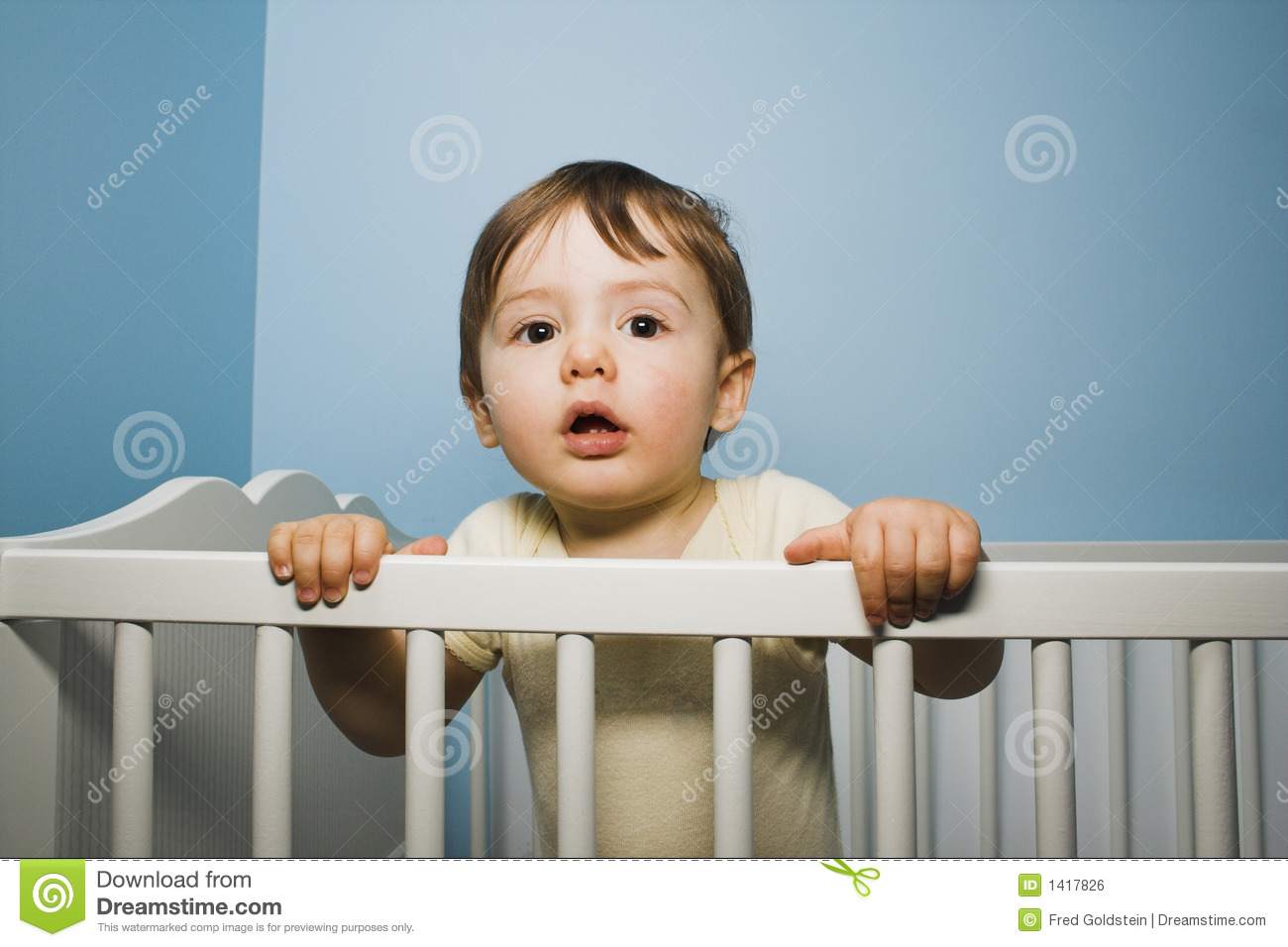 Baby In Crib Royalty Free Stock Image Image 1417826