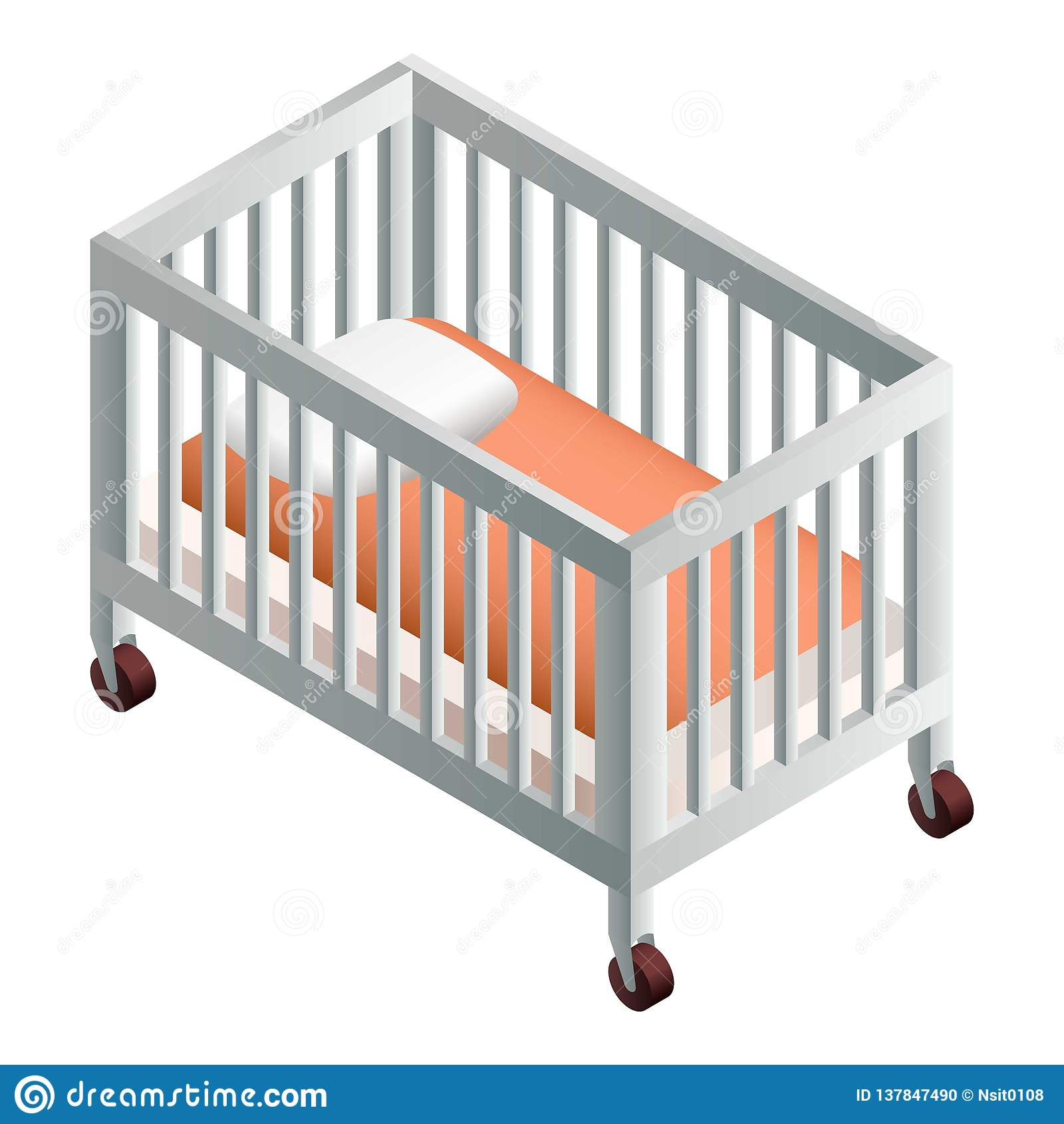 baa262ac812a Baby crib icon. Isometric of baby crib vector icon for web design isolated  on white background