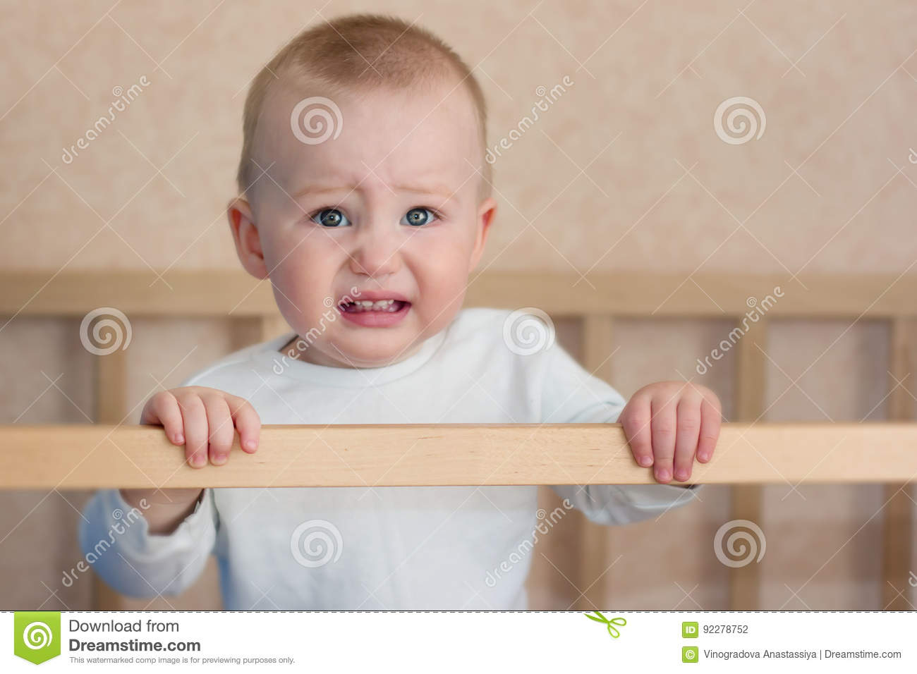 Baby cry in cot