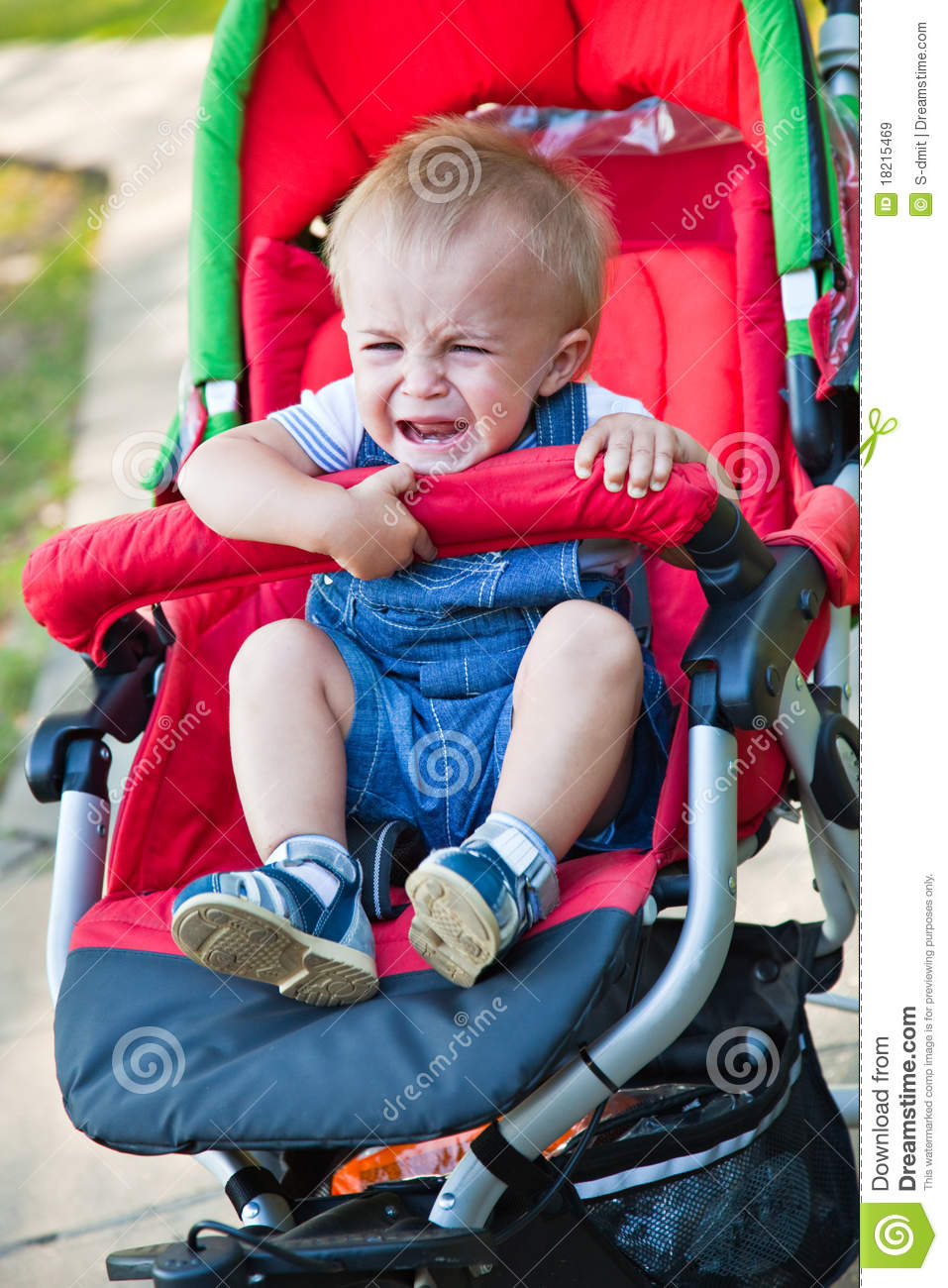 A Baby Is Crying In The Pram Stock Image Image Of