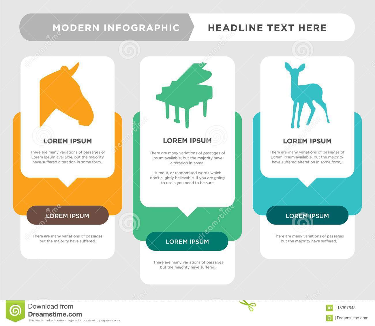 Baby Deer Business Infographic Template The Concept Is Option Step With Full Color Icon Can Be Used For Grand Piano Diagram Infograph Chart