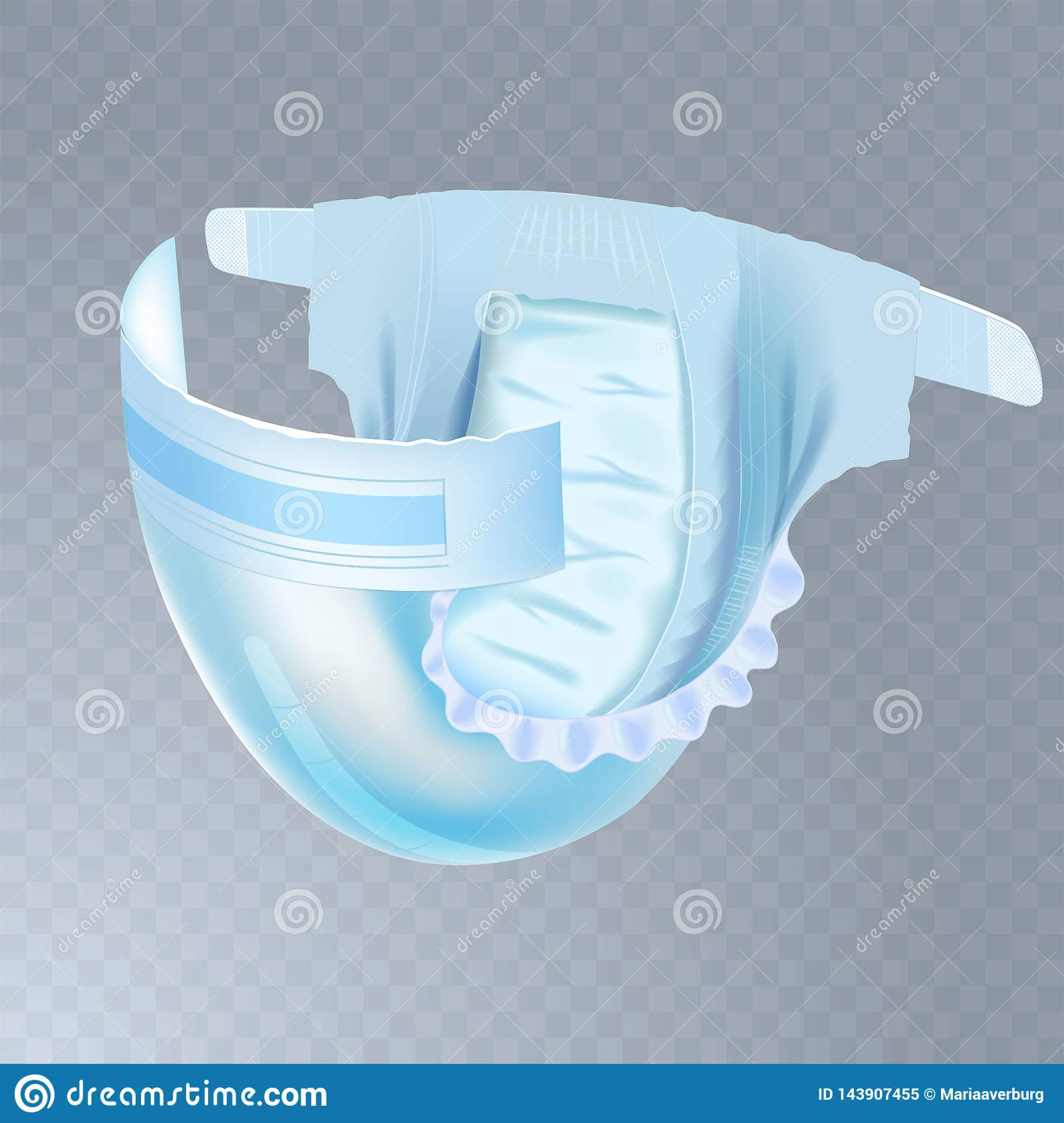 Baby diaper isolated on transparent background. Realistic vector illustration for diapers packs, and other babies