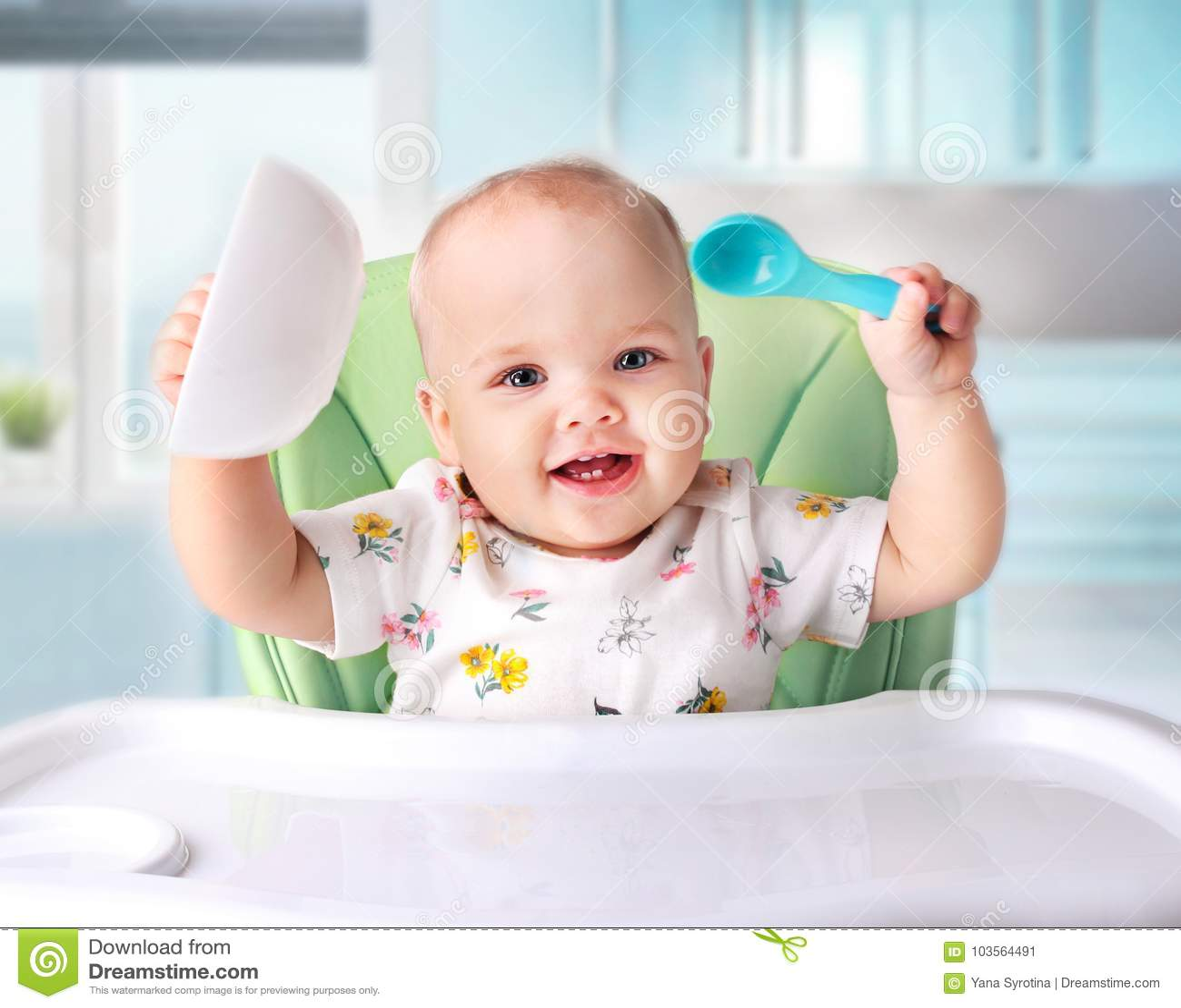Baby die, kind` s voeding eten