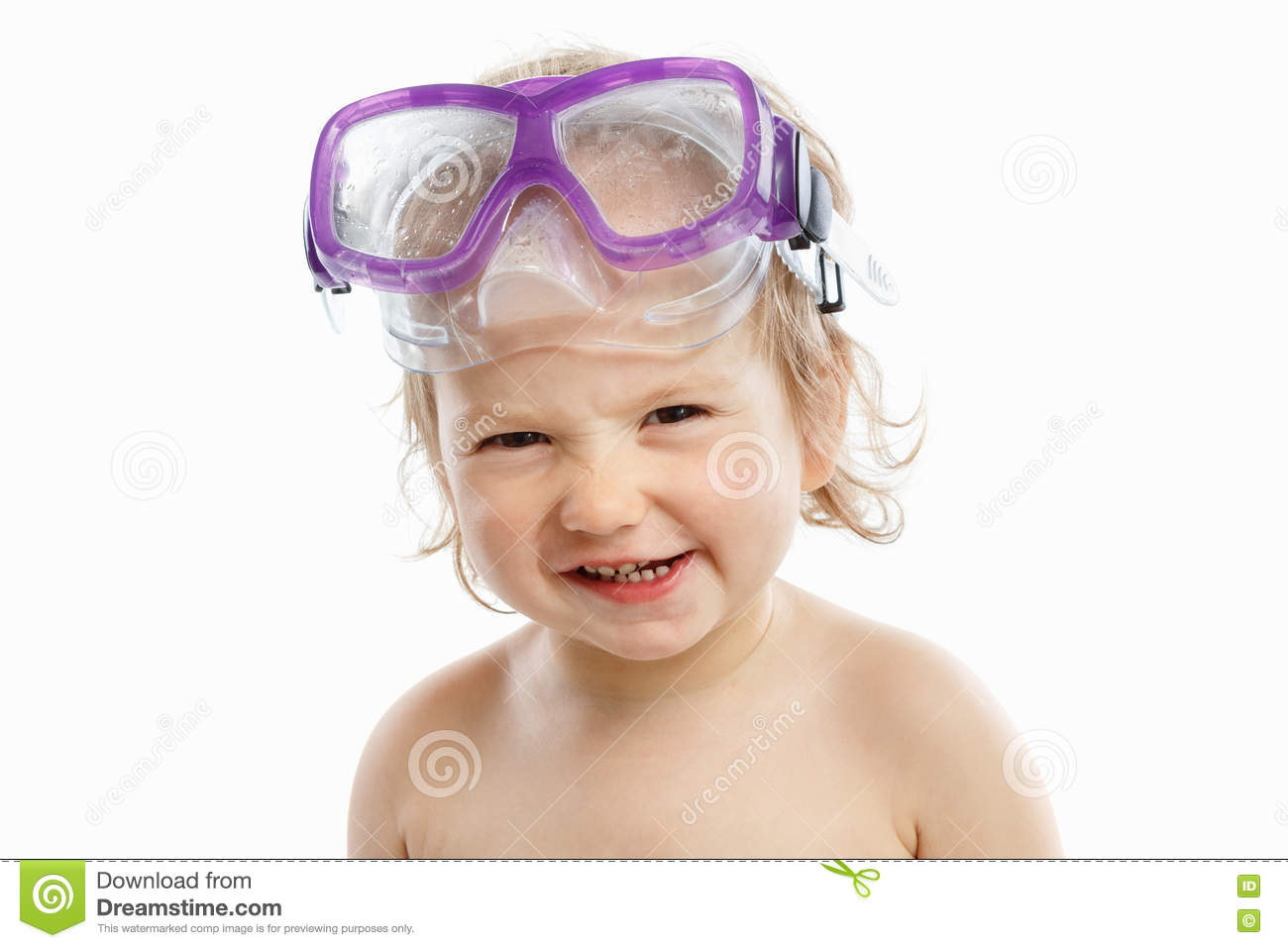 Baby diver in swimming mask with a happy face close-up portrait, on white