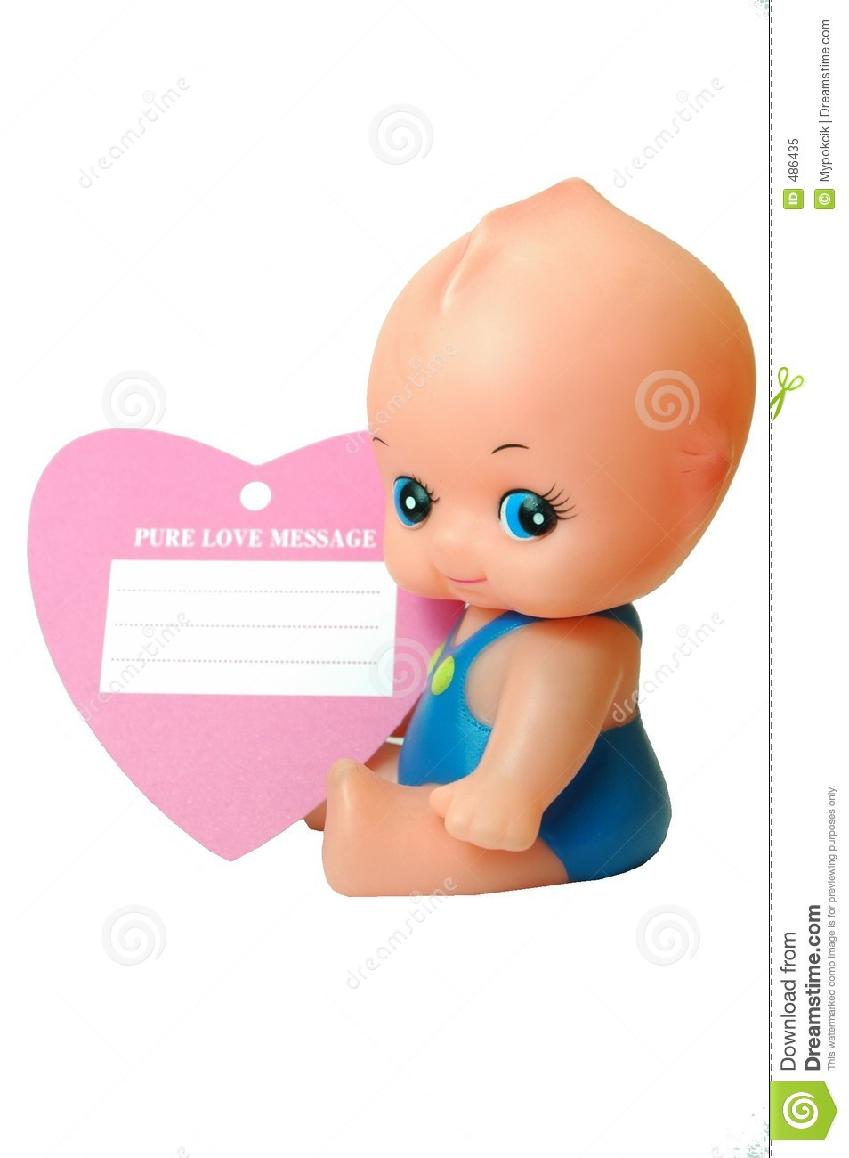 baby doll with pure love card royalty free stock photo