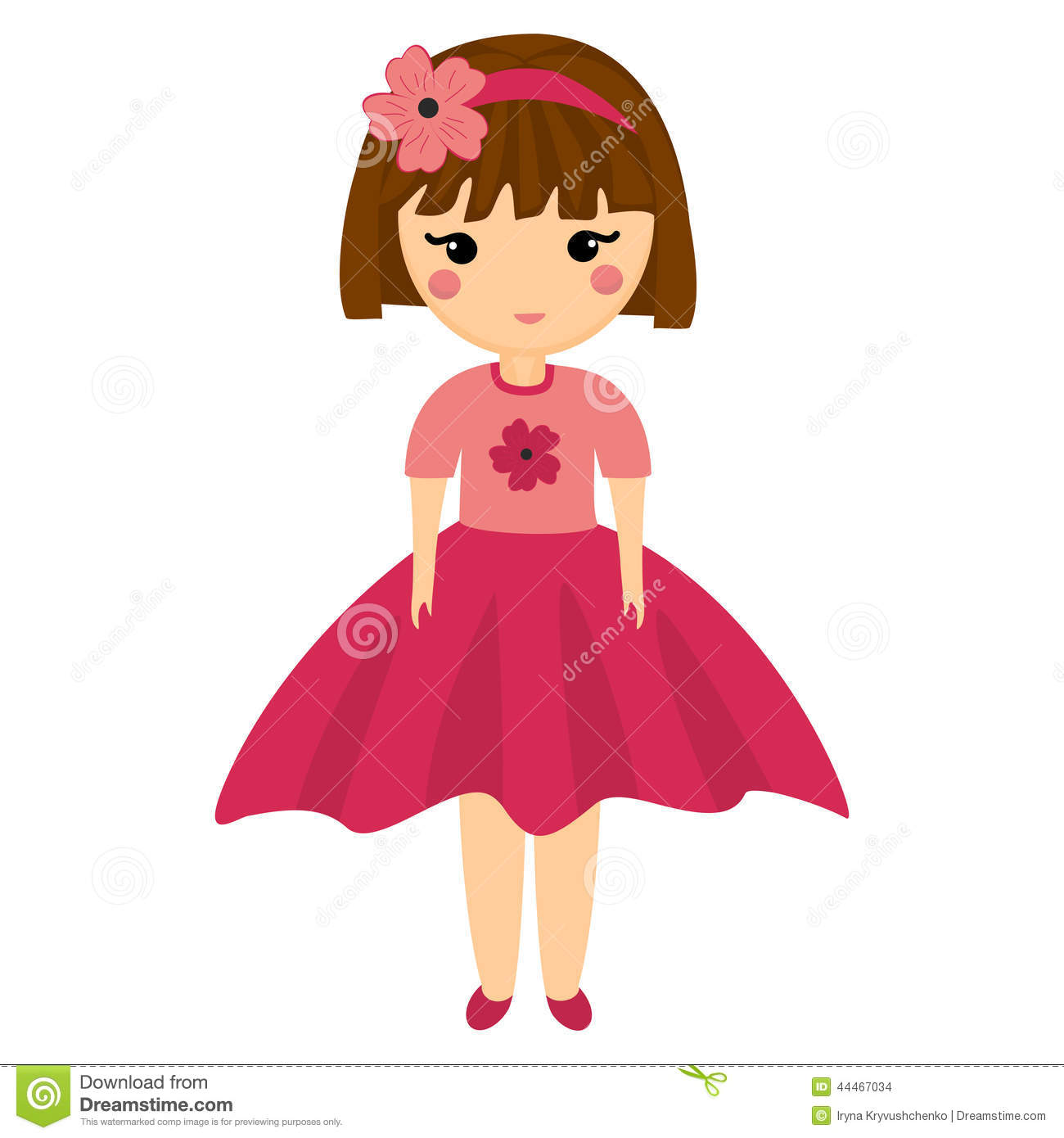 Baby Doll. Very Cute Girl In Pink Clothes. Stock Vector - Image ...