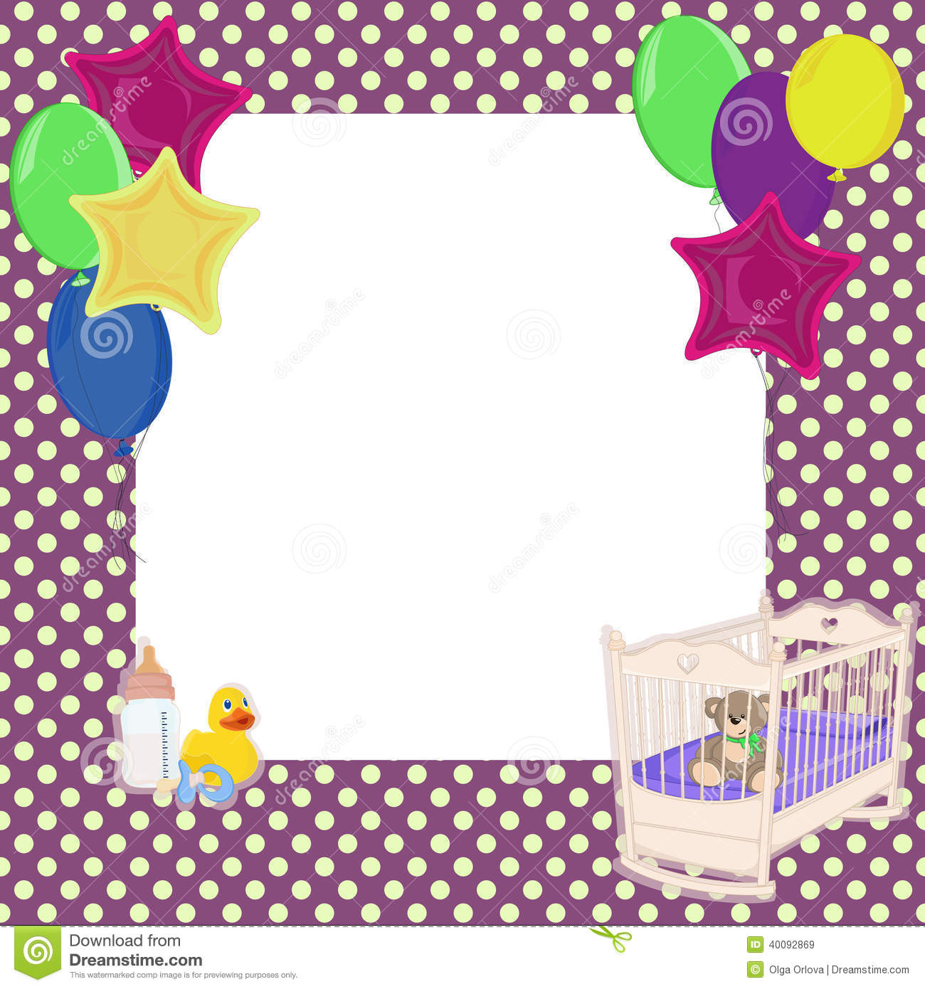 Baby Dots And Balloon Background Stock Vector Image