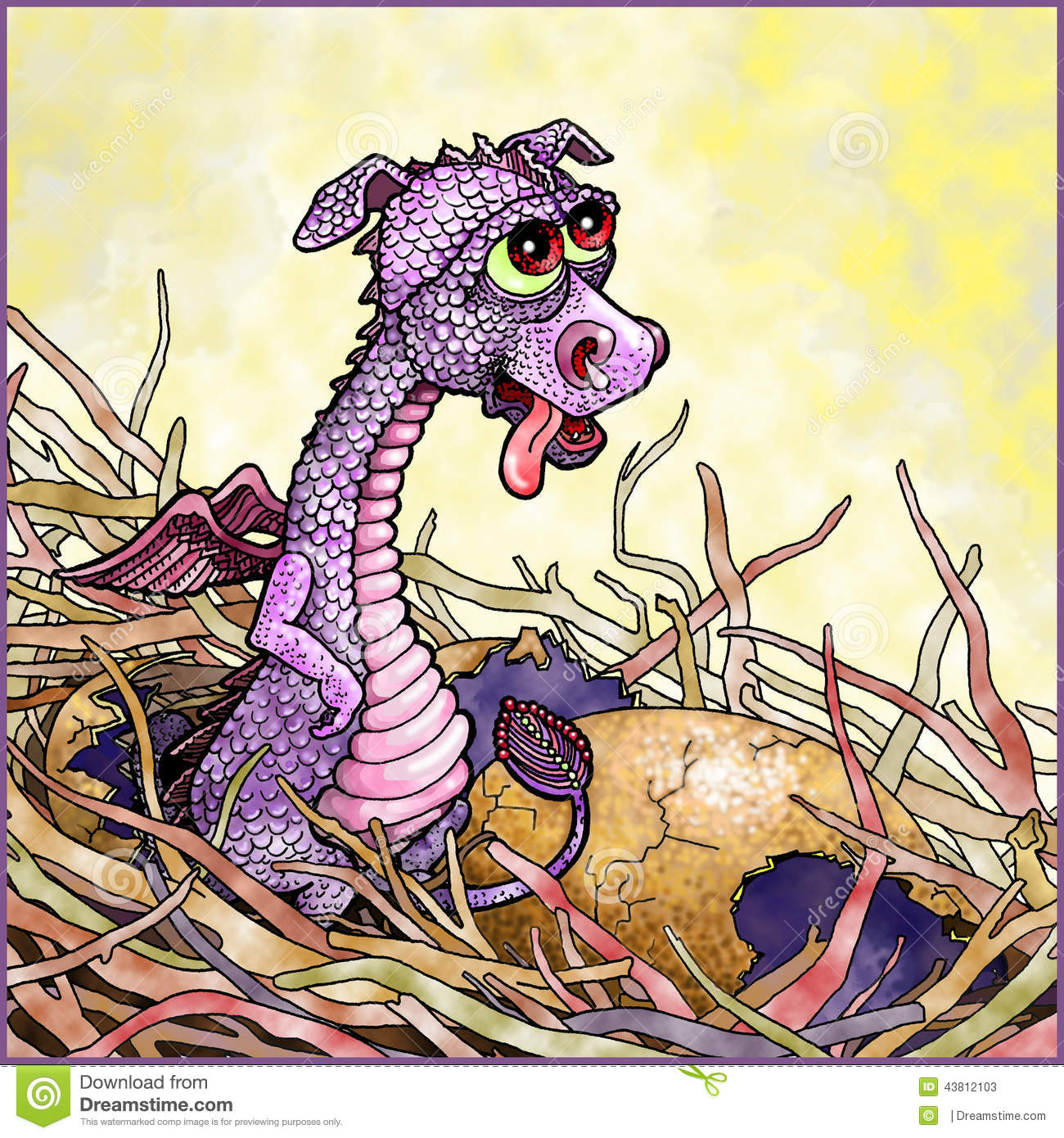 baby dragon in a nest stock illustration image 43812103