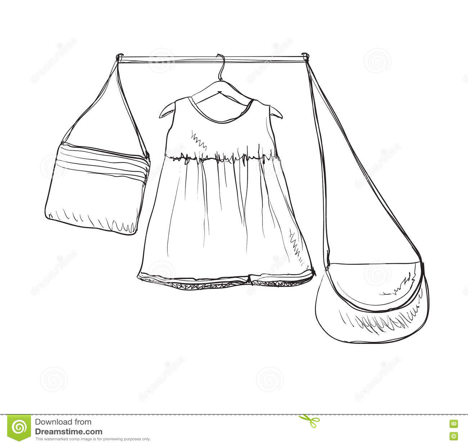 Baby Dress Sketch Clothes On The Hanger Hand Drawn Handbag Stock
