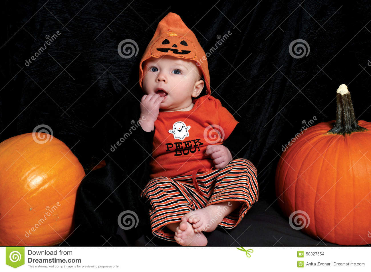 baby dressed up on halloween with pumpkins stock photo - image of