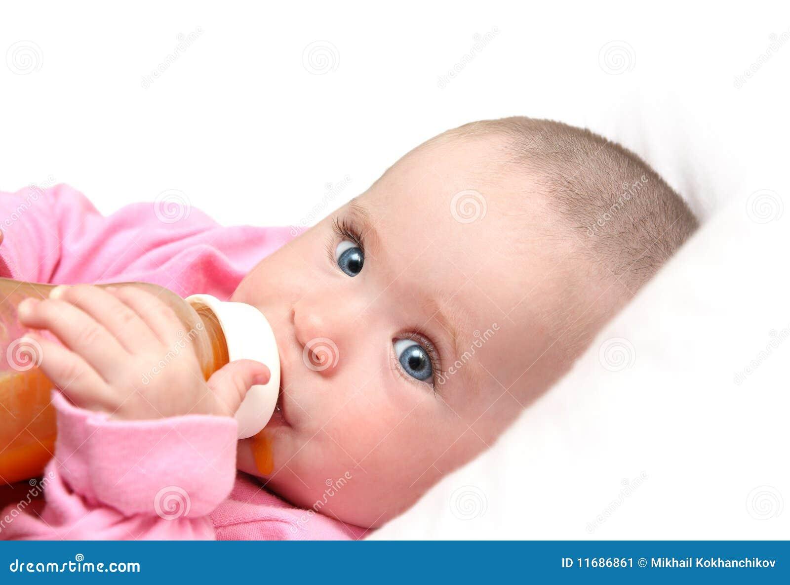 Baby Drinking Juice Form Bottle Stock Image - Image: 11686861